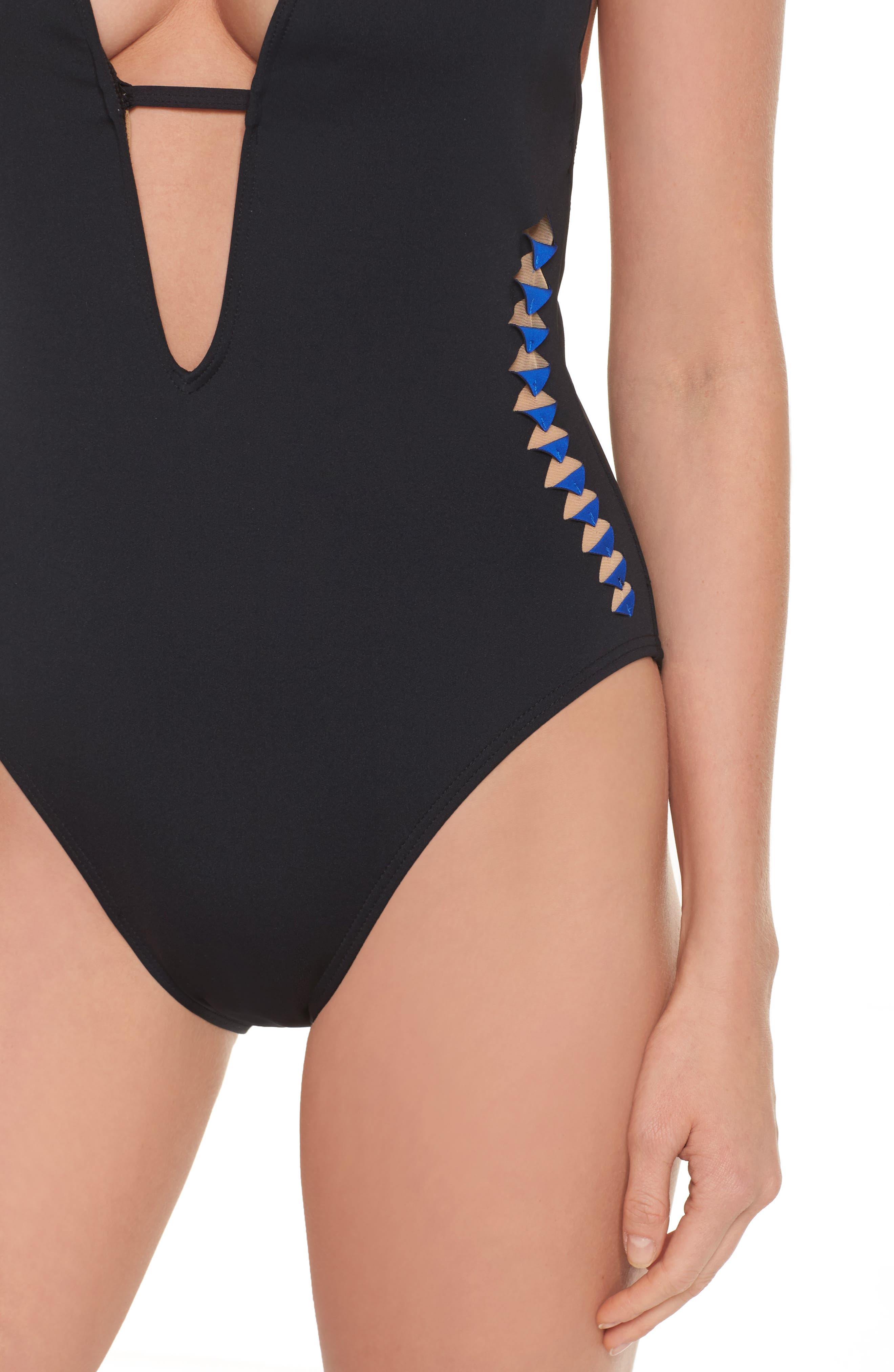Kenneth Cole Caviar One-Piece Swimsuit,                             Alternate thumbnail 4, color,                             BLACK