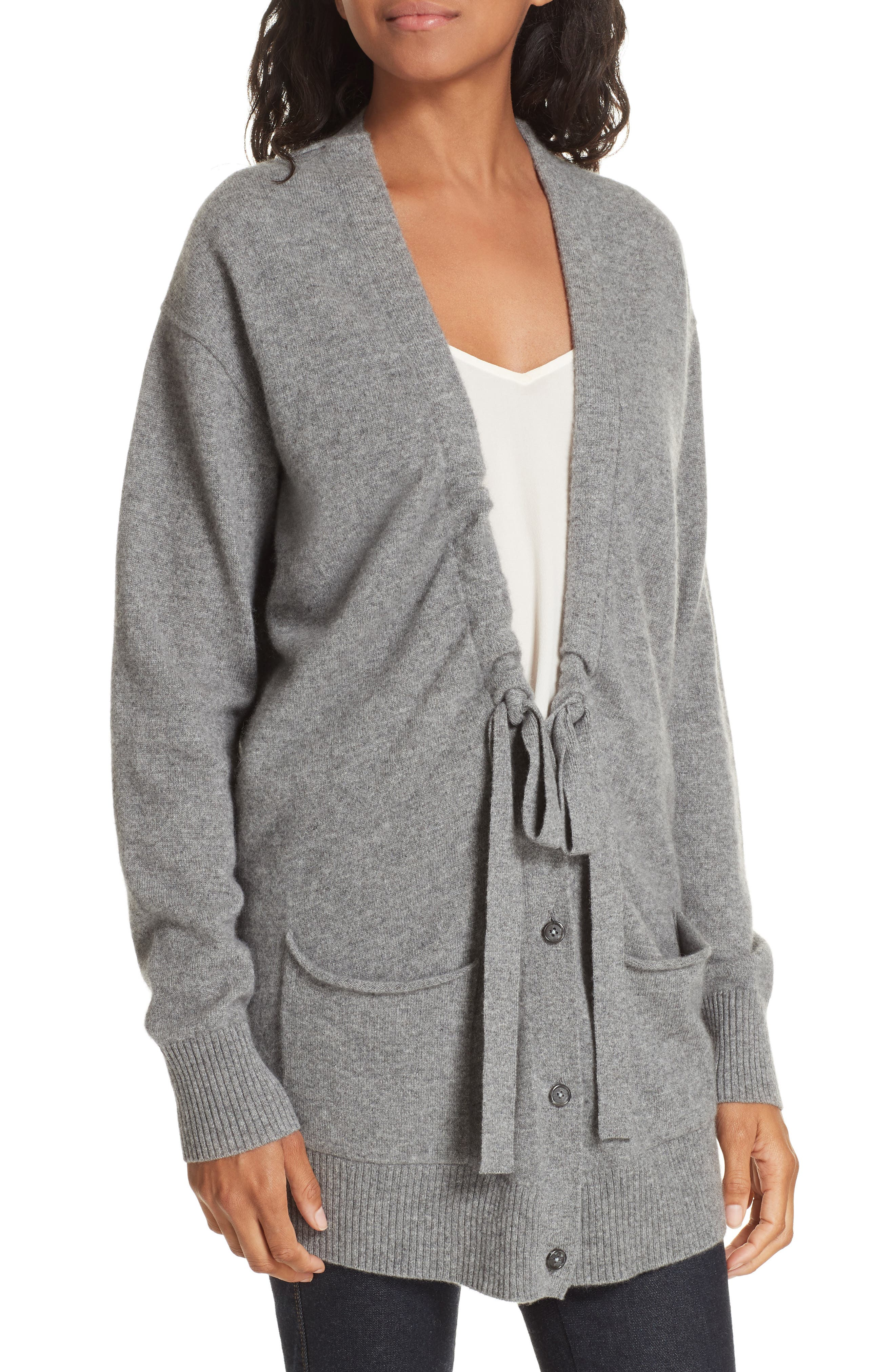 Bray Cashmere Cardigan,                             Alternate thumbnail 4, color,                             HEATHER GREY