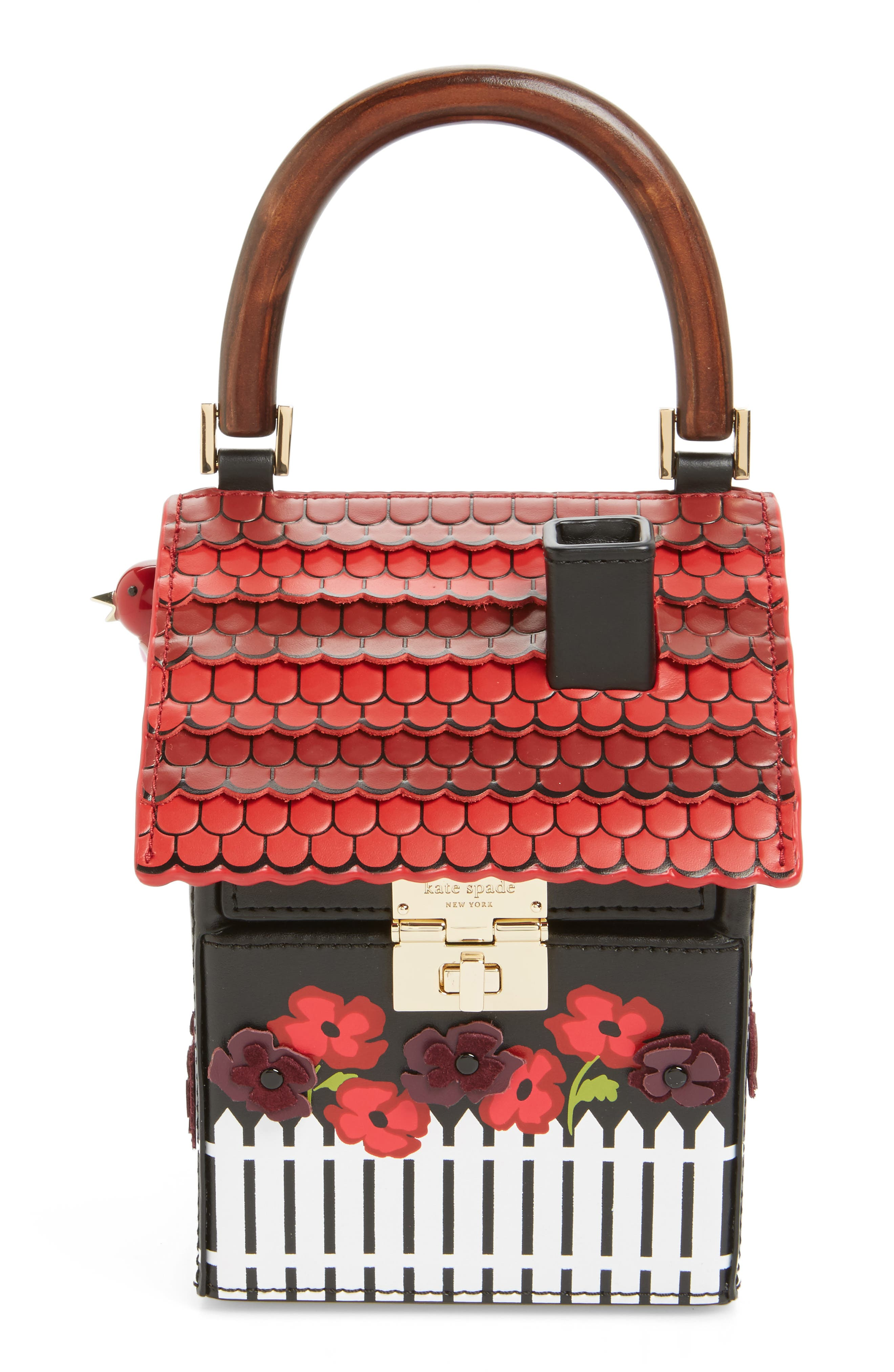 ooh la la cuckoo clock leather handbag,                             Main thumbnail 1, color,                             001