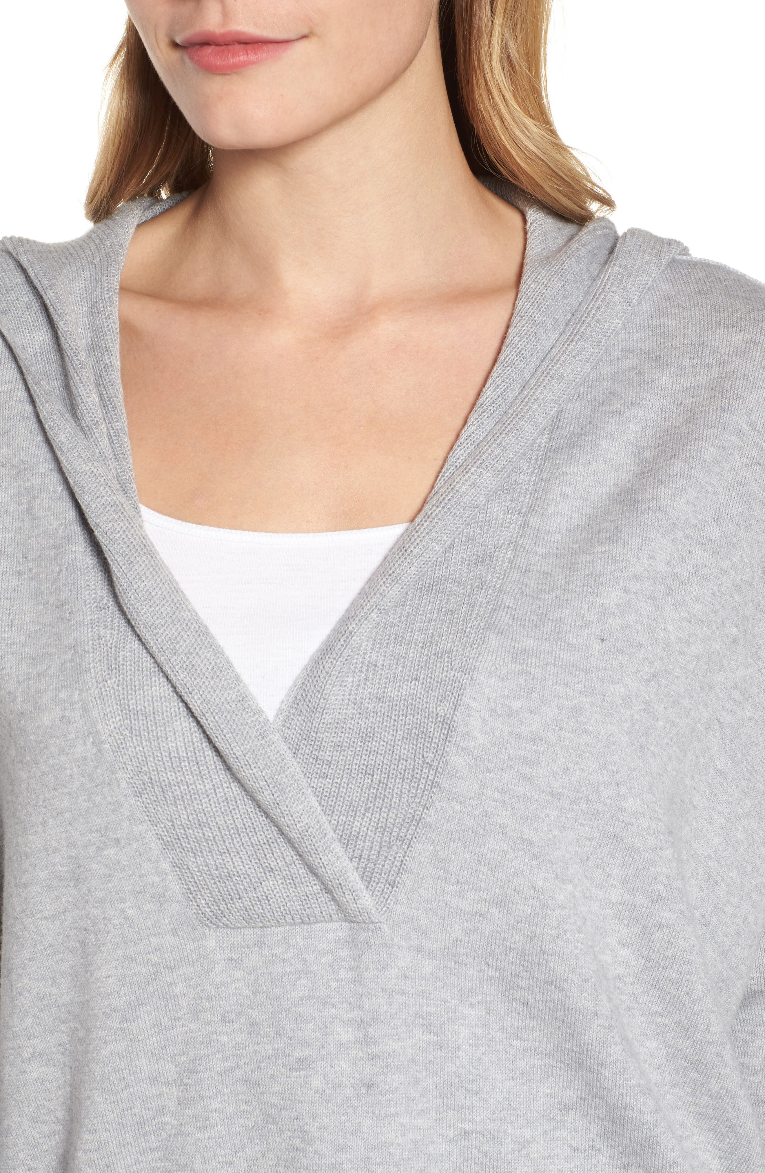 Hooded Organic Cotton Box Sweater,                             Alternate thumbnail 7, color,