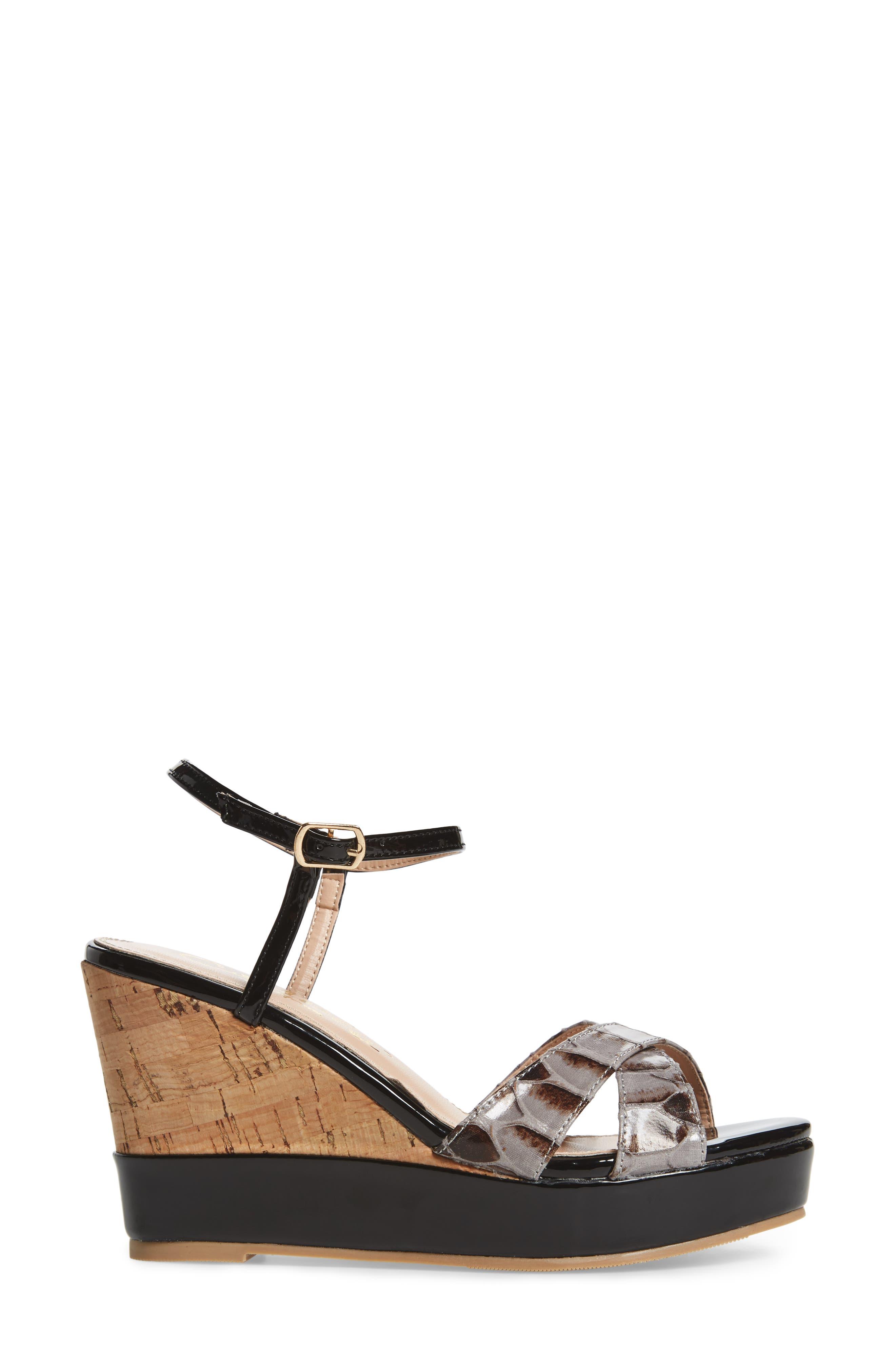 Lottie Platform Wedge Sandal,                             Alternate thumbnail 3, color,                             BLACK SYNTHETIC