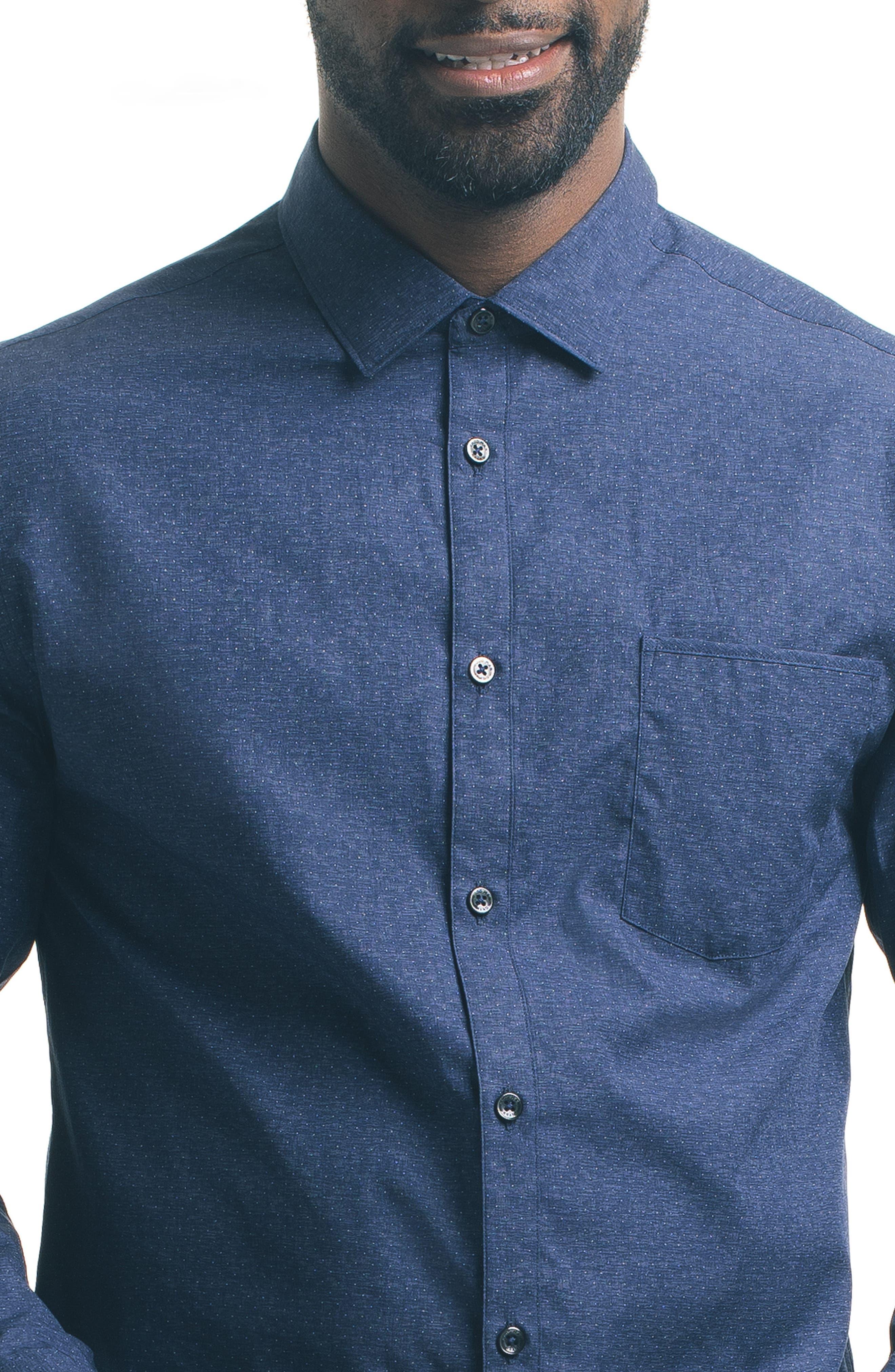 Slim Fit Blue Dot Sport Shirt,                             Alternate thumbnail 4, color,                             400