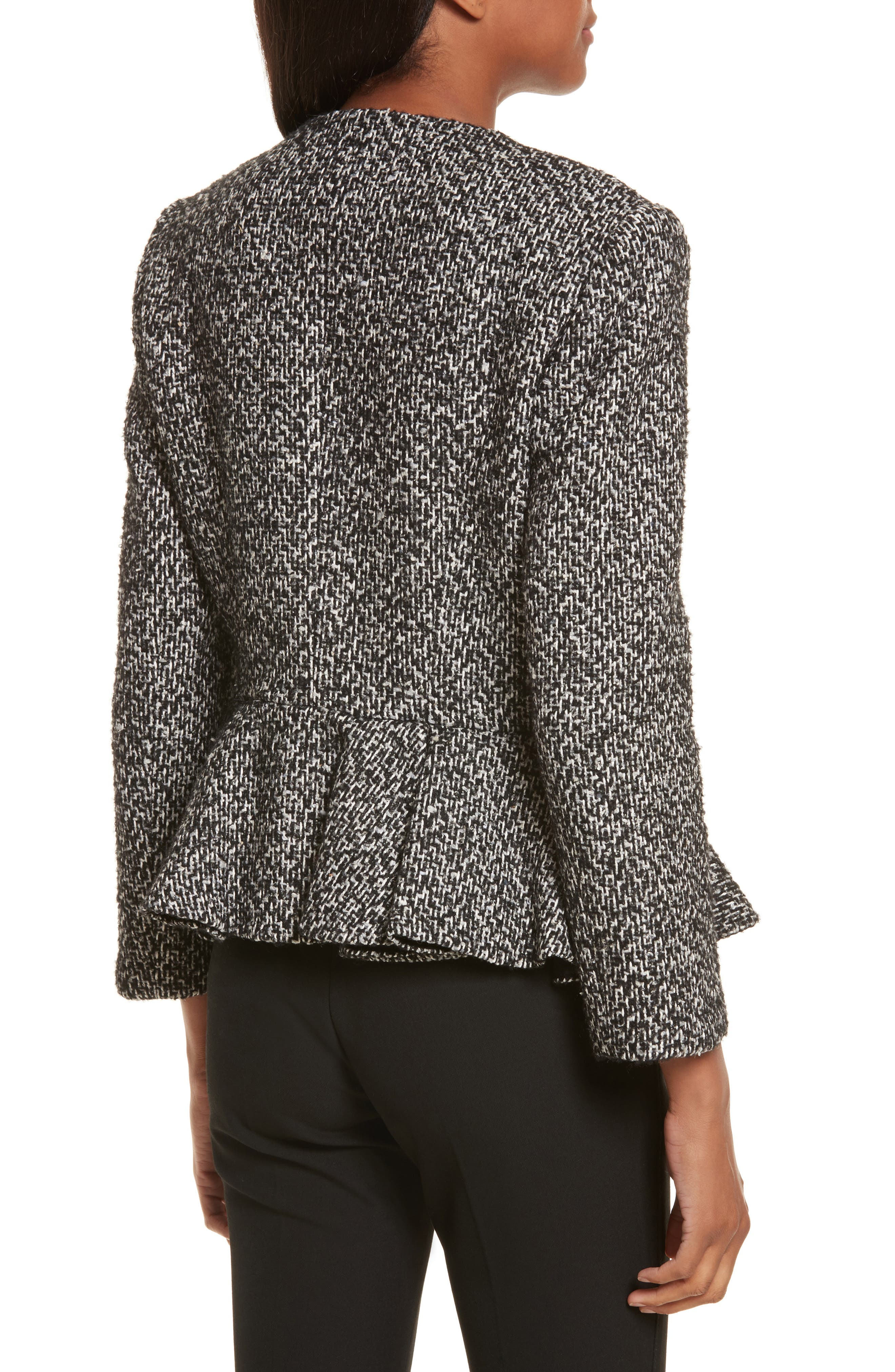 Tweed Peplum Jacket,                             Alternate thumbnail 2, color,                             001