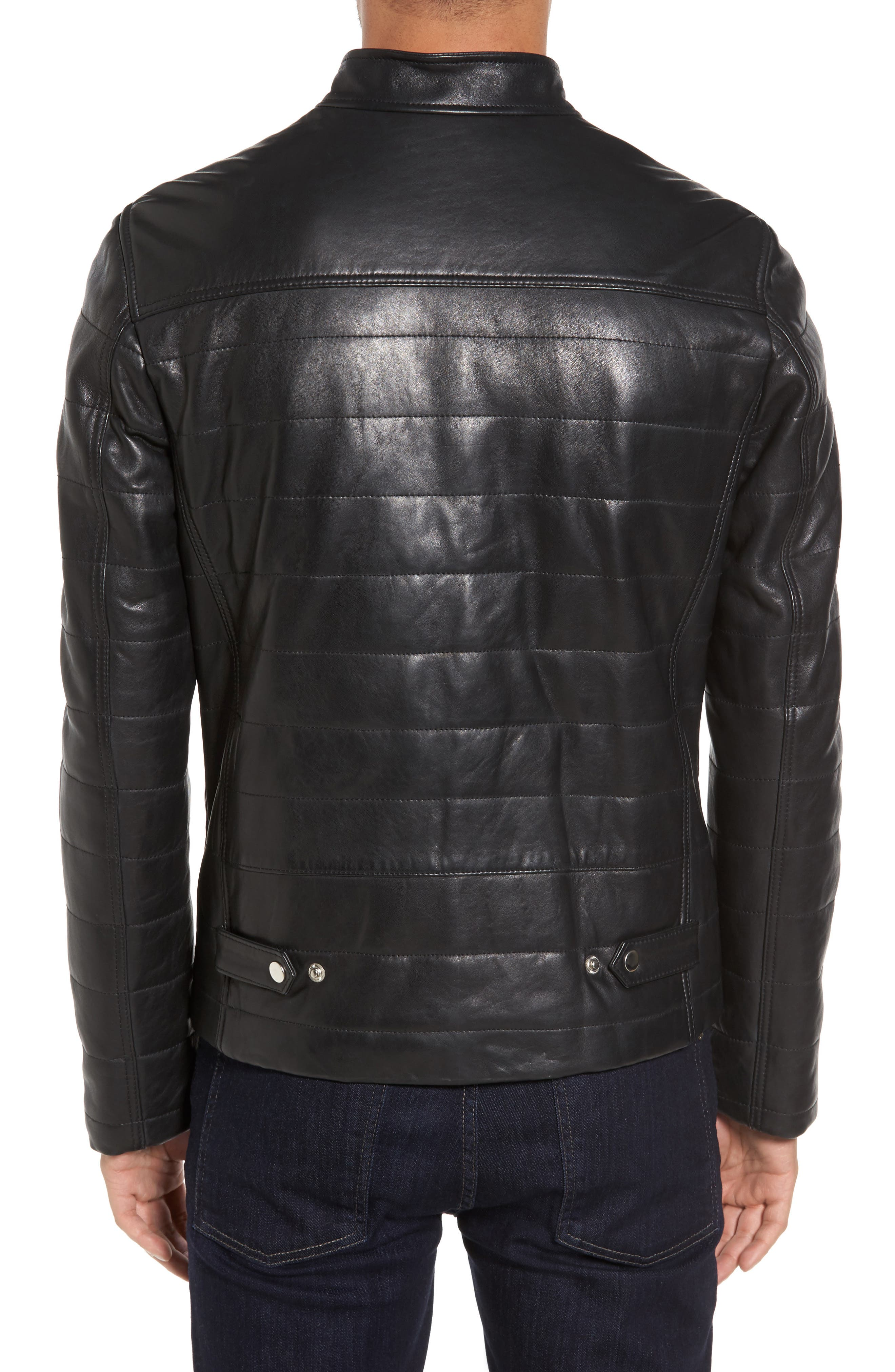 Quilted Leather Moto Jacket,                             Alternate thumbnail 2, color,                             001