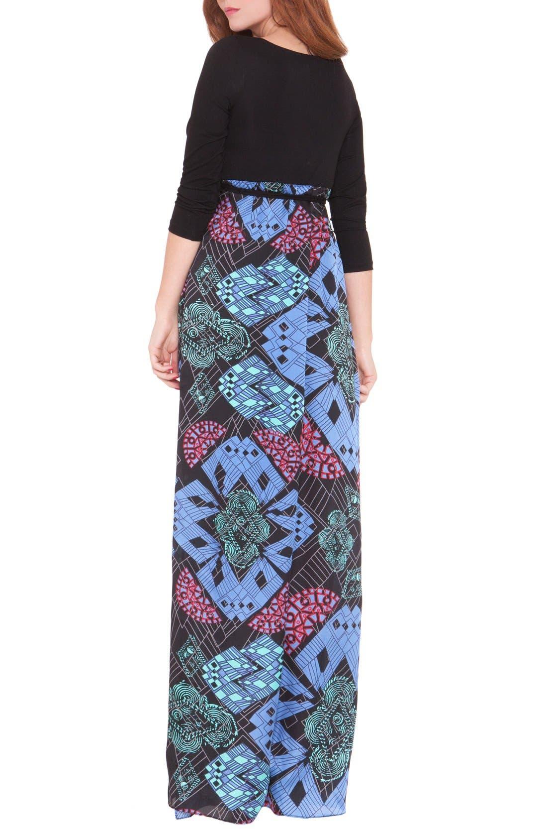 'Samantha' Maternity Maxi Dress,                             Alternate thumbnail 3, color,                             BLUE