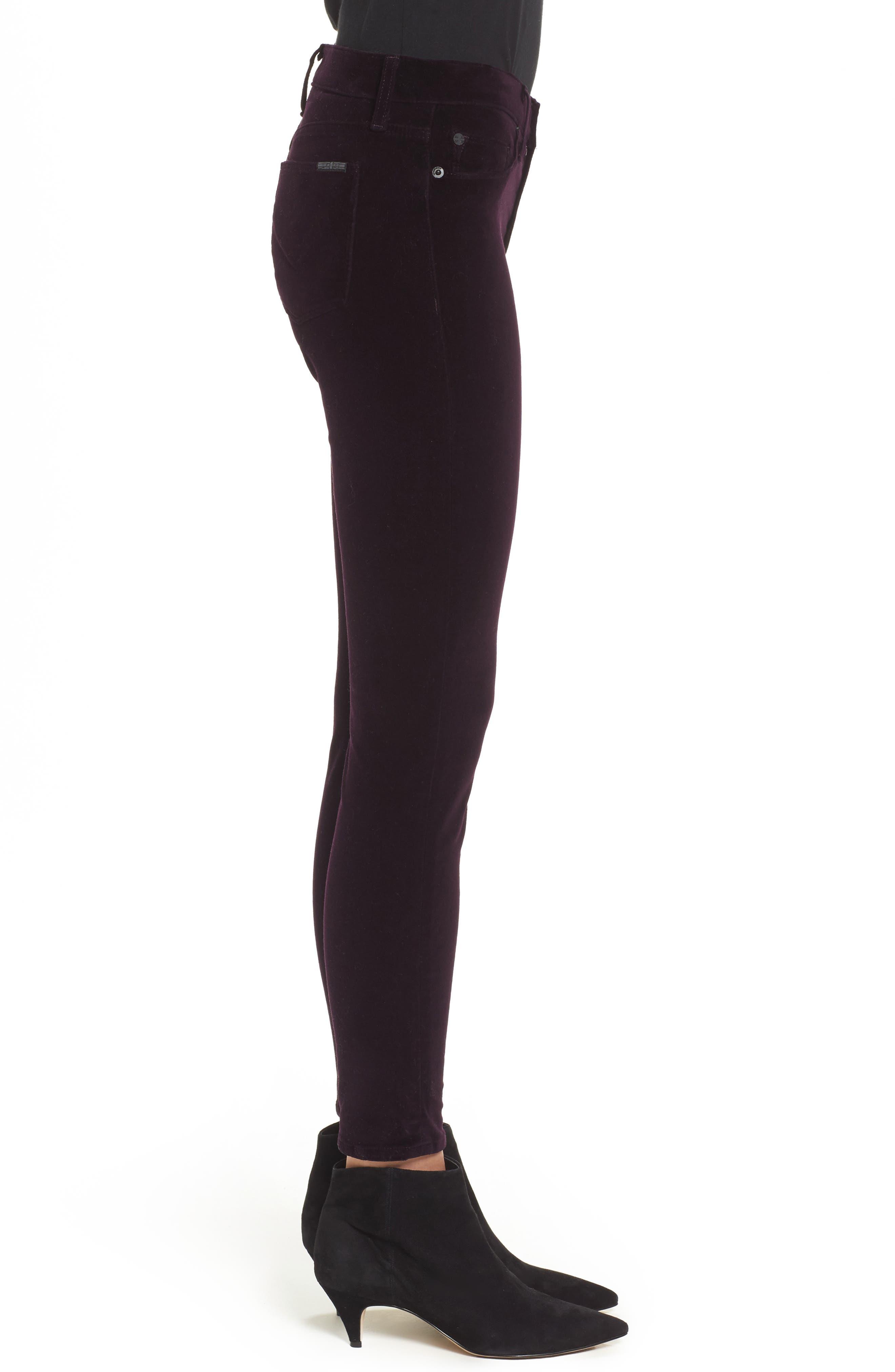 Nico Ankle Skinny Velvet Pants,                             Alternate thumbnail 3, color,                             500