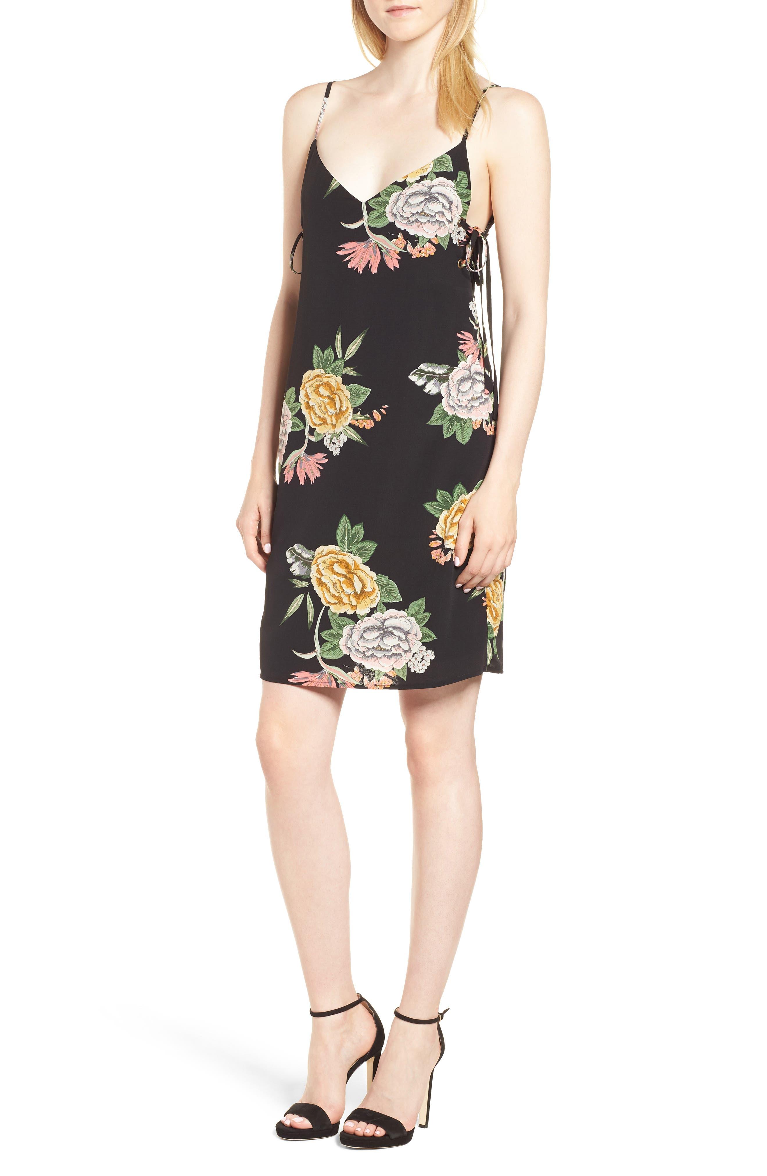 Enchanted Garden Lace-Up Dress,                         Main,                         color, ENCHANTED GARDEN PRINT