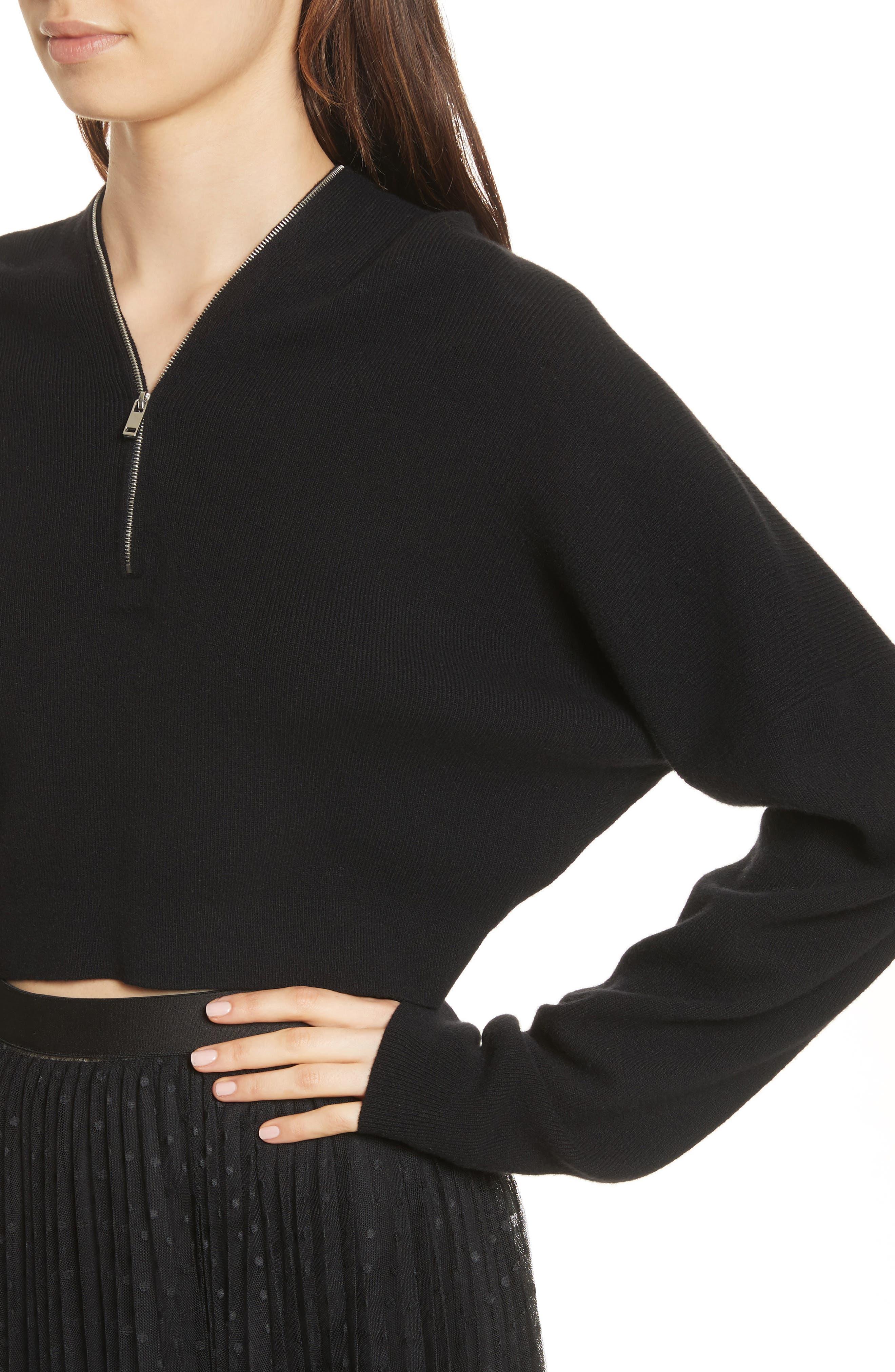 Wool & Cashmere Zip Neck Crop Sweater,                             Alternate thumbnail 4, color,                             001