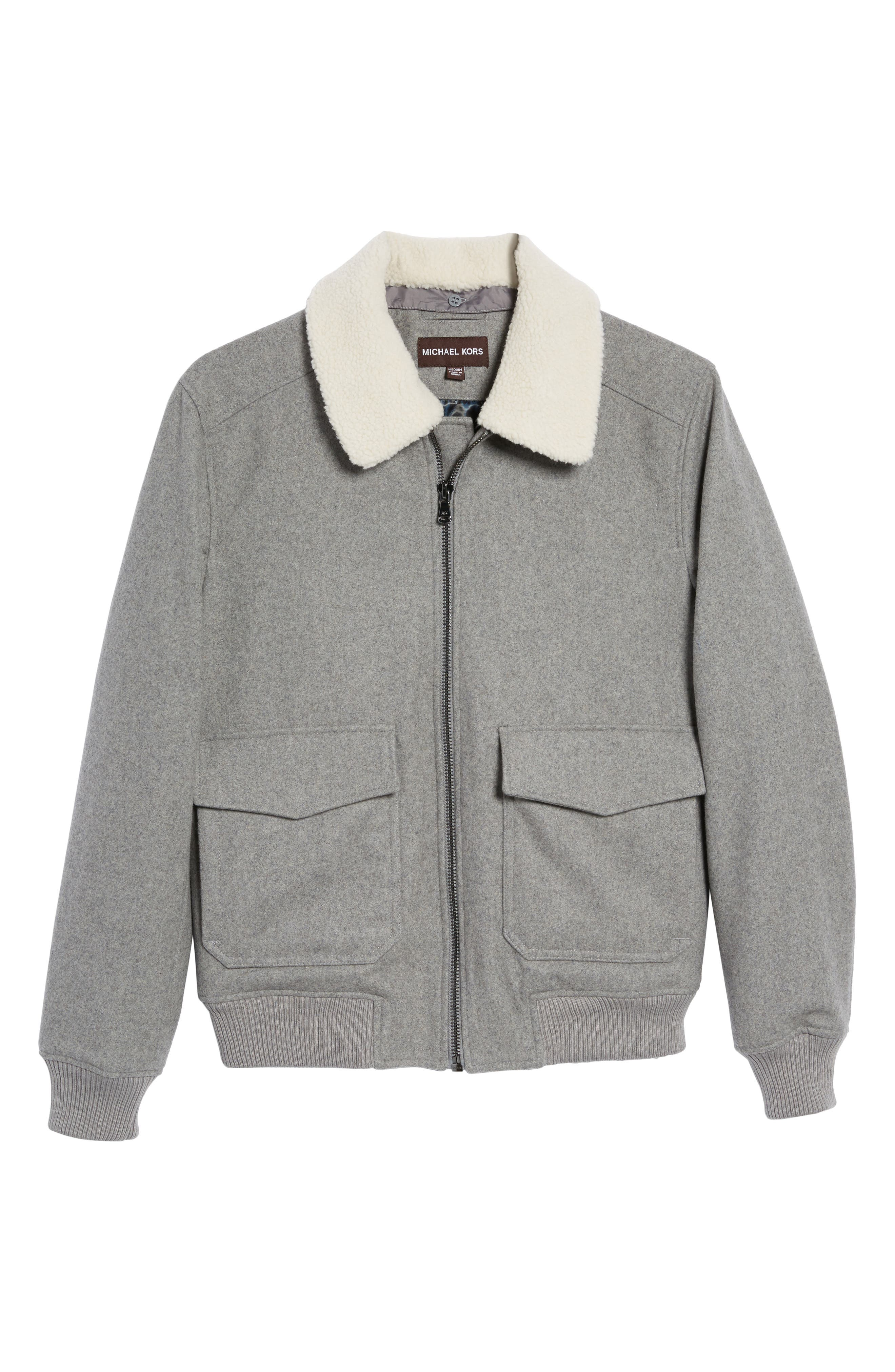 Fleece Collar Wool Blend A-2 Jacket,                             Alternate thumbnail 5, color,                             034