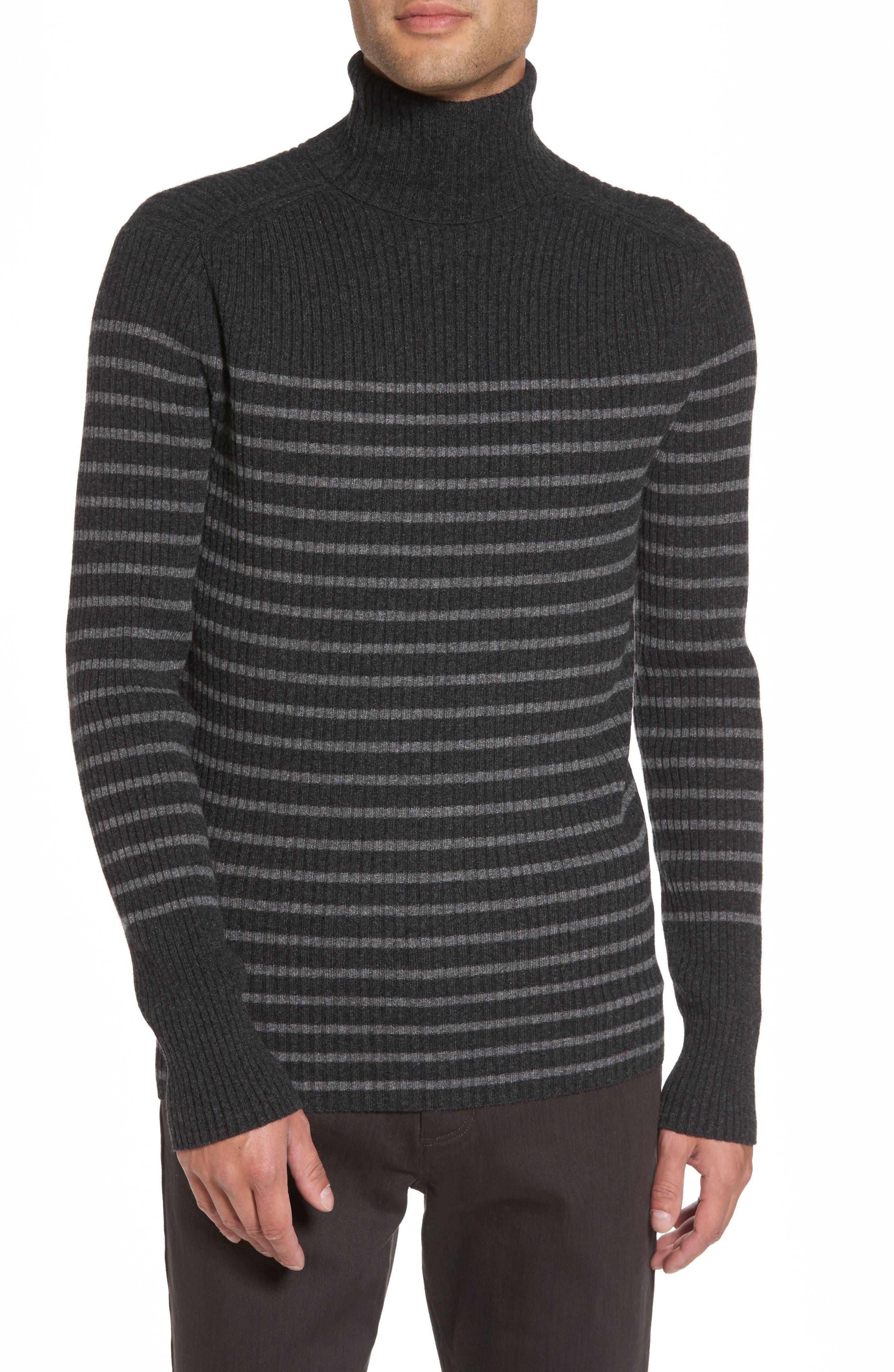 Regular Fit Breton Stripe Cashmere Turtleneck Sweater,                             Main thumbnail 1, color,