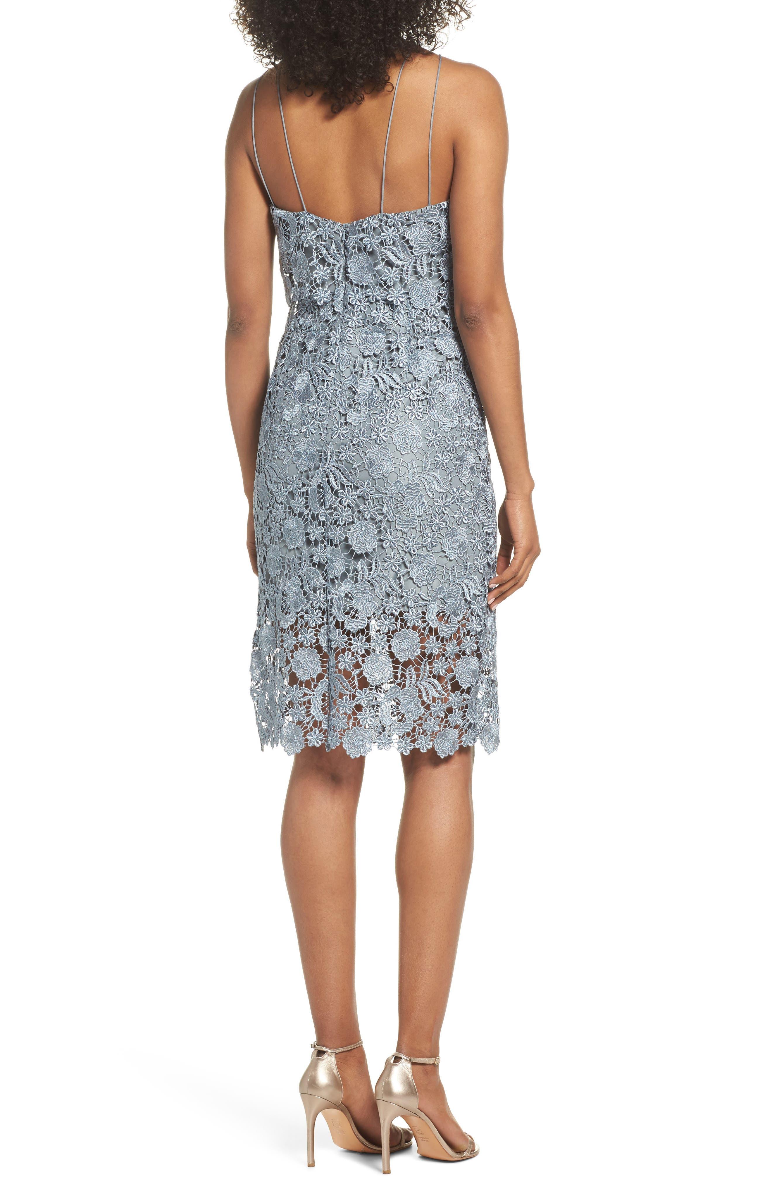 Freya Lace Sheath Dress,                             Alternate thumbnail 2, color,                             MAYAN BLUE