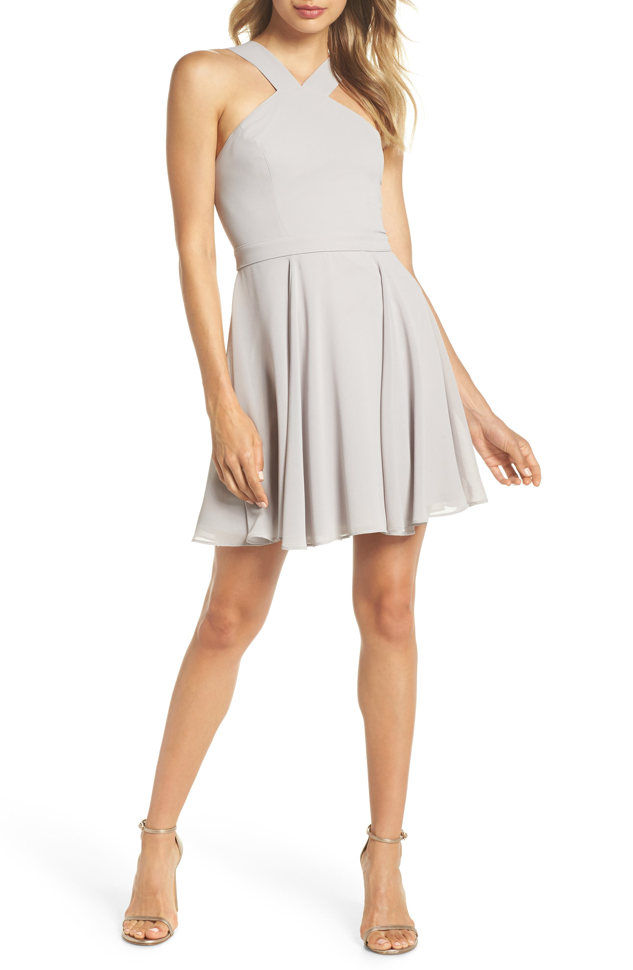 Forevermore Skater Dress,                             Main thumbnail 1, color,                             GREY