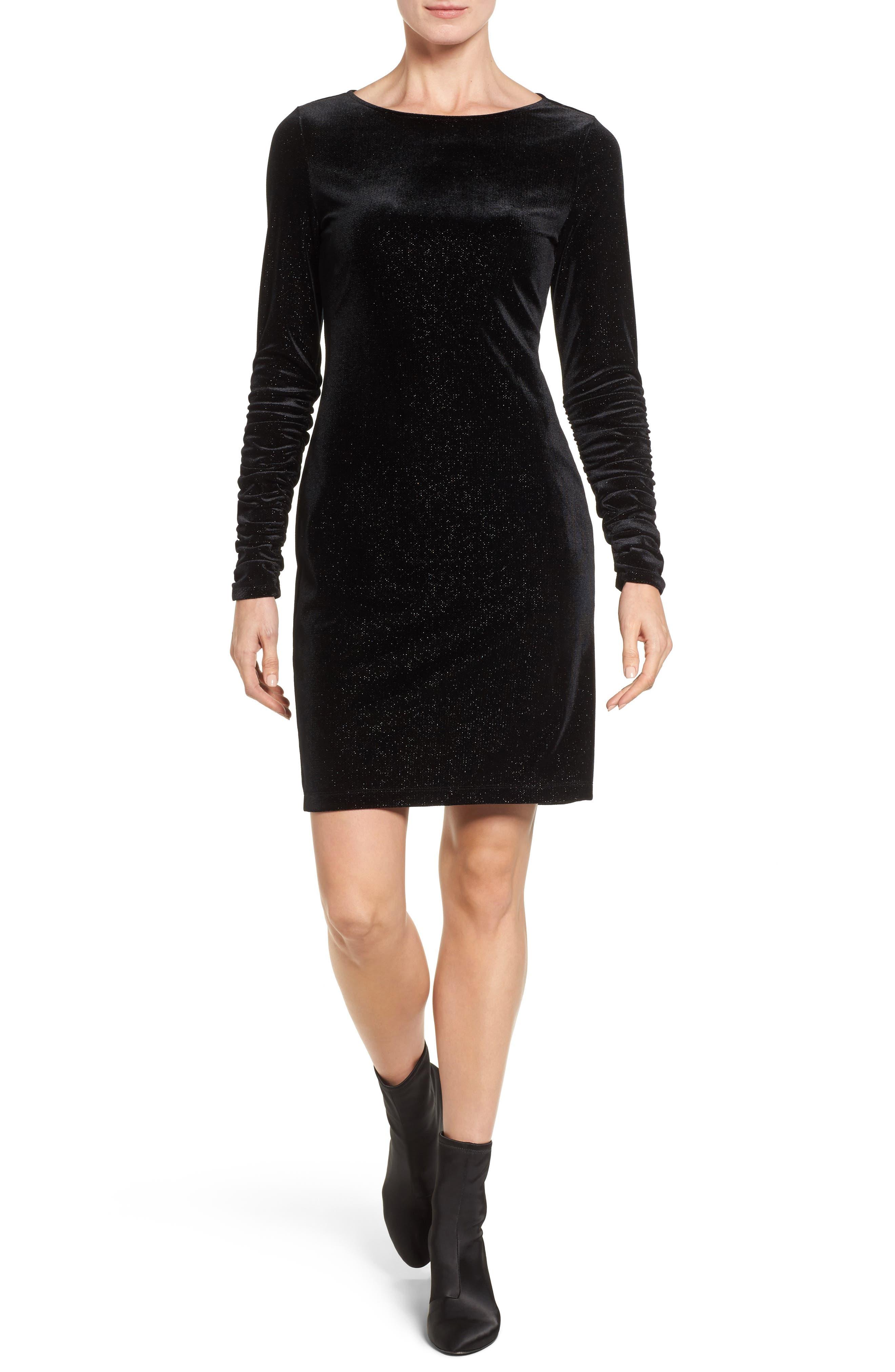 Ruched Sleeve Sparkle Velvet Dress,                             Main thumbnail 1, color,                             006
