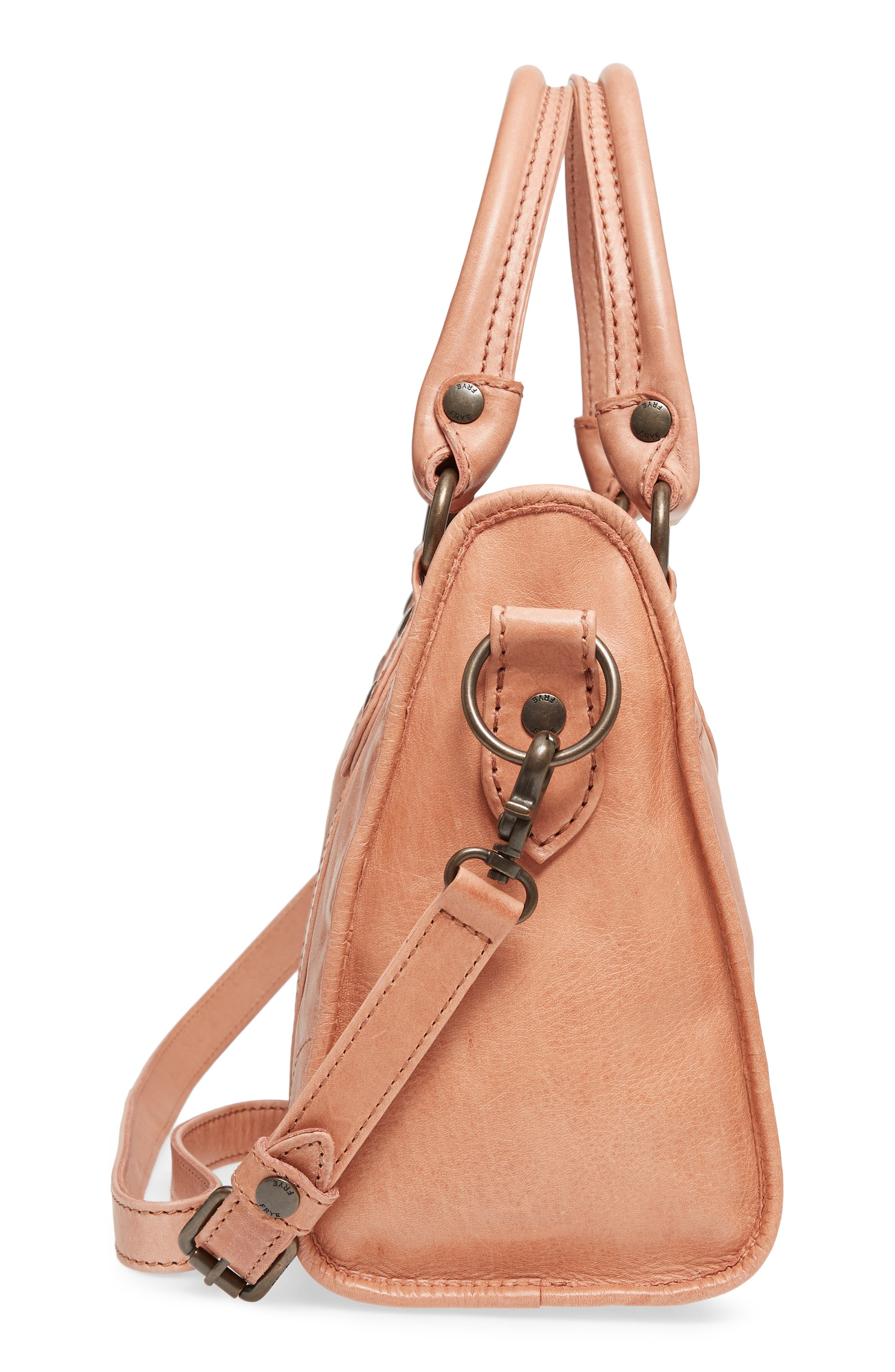 'Melissa' Washed Leather Satchel,                             Alternate thumbnail 5, color,                             DUSTY ROSE