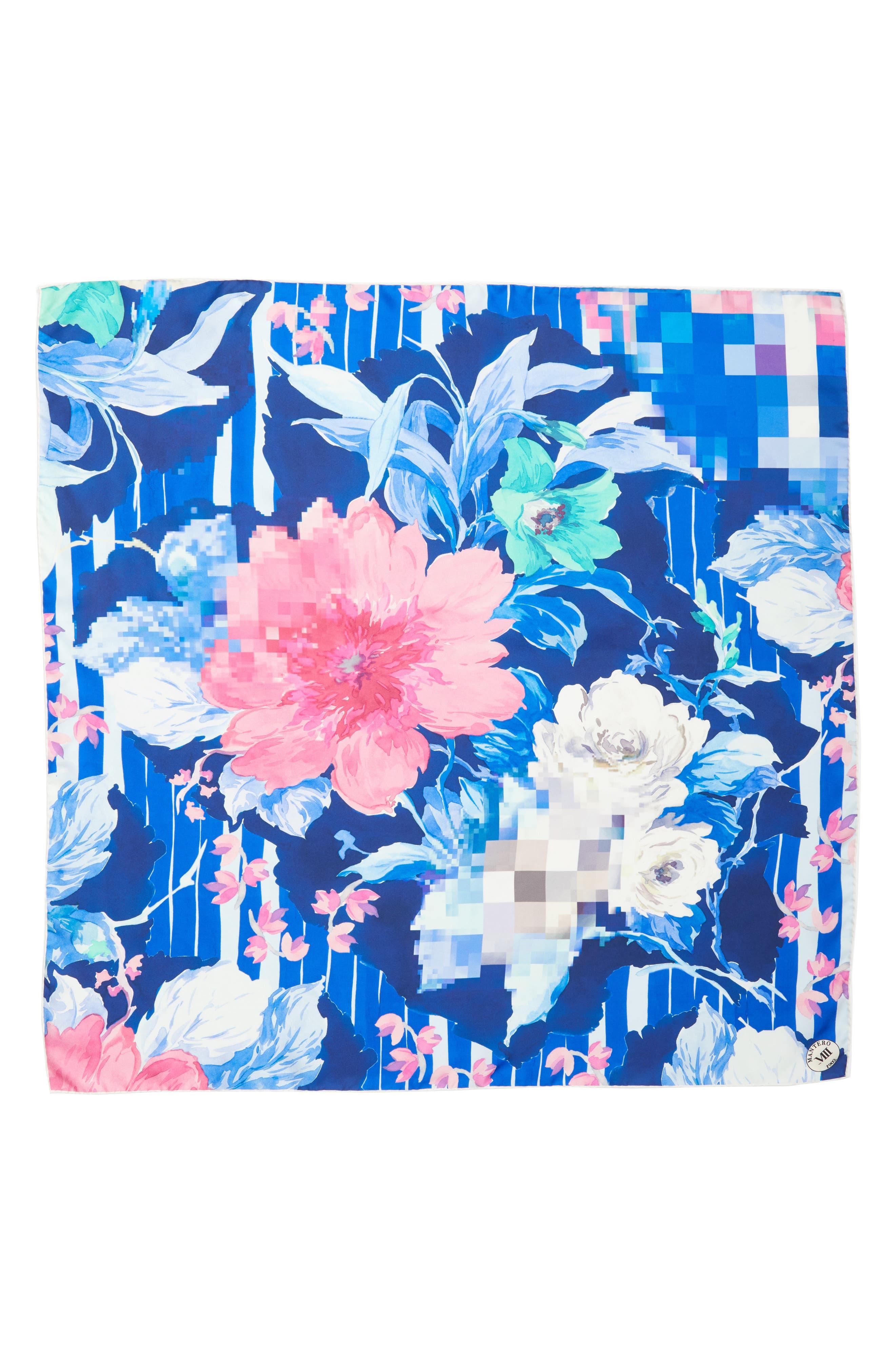 Fuori Fuoco Square Silk Scarf,                             Main thumbnail 1, color,                             ROYAL
