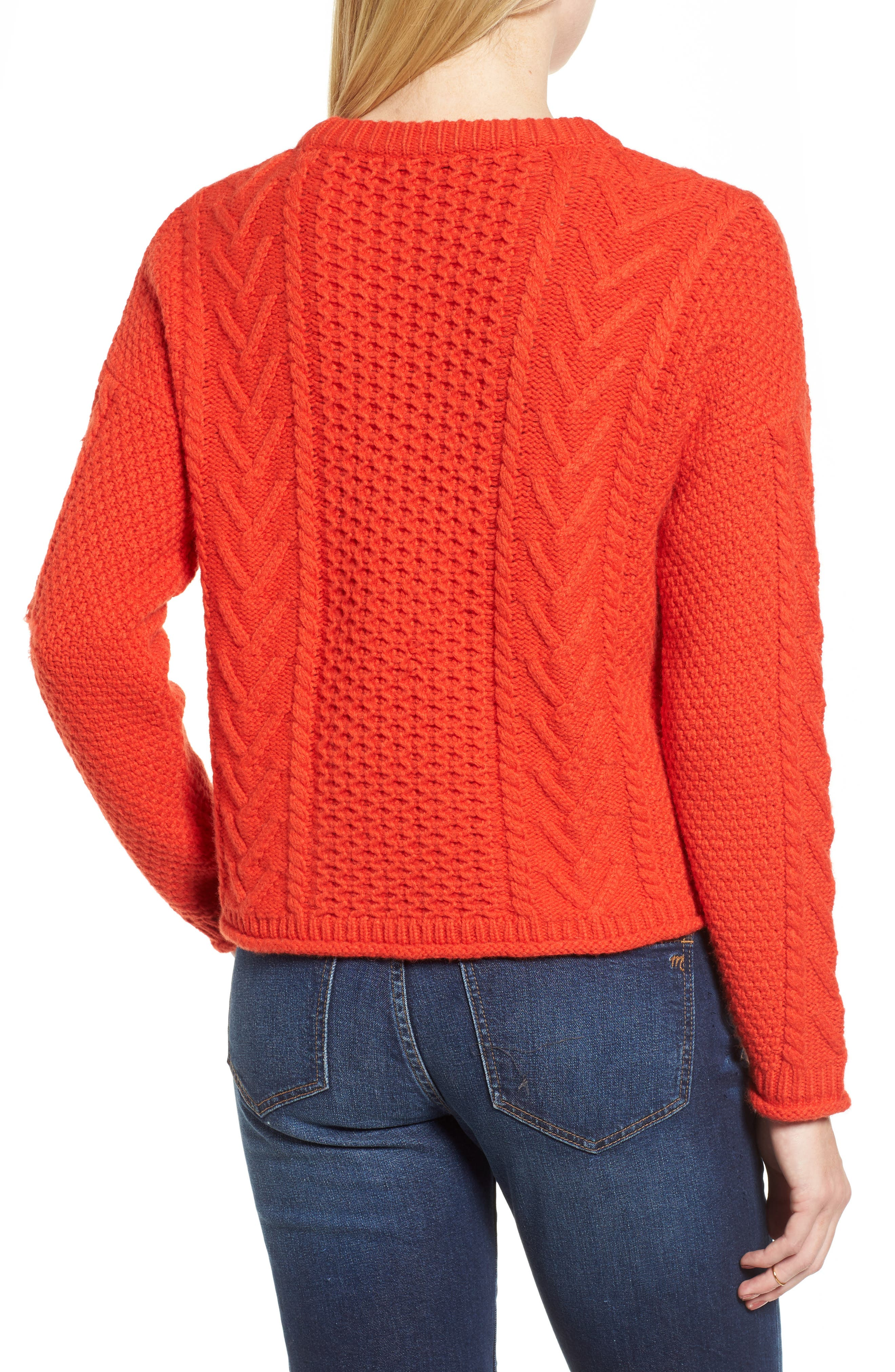 Cable Knit Pullover Sweater,                             Alternate thumbnail 3, color,