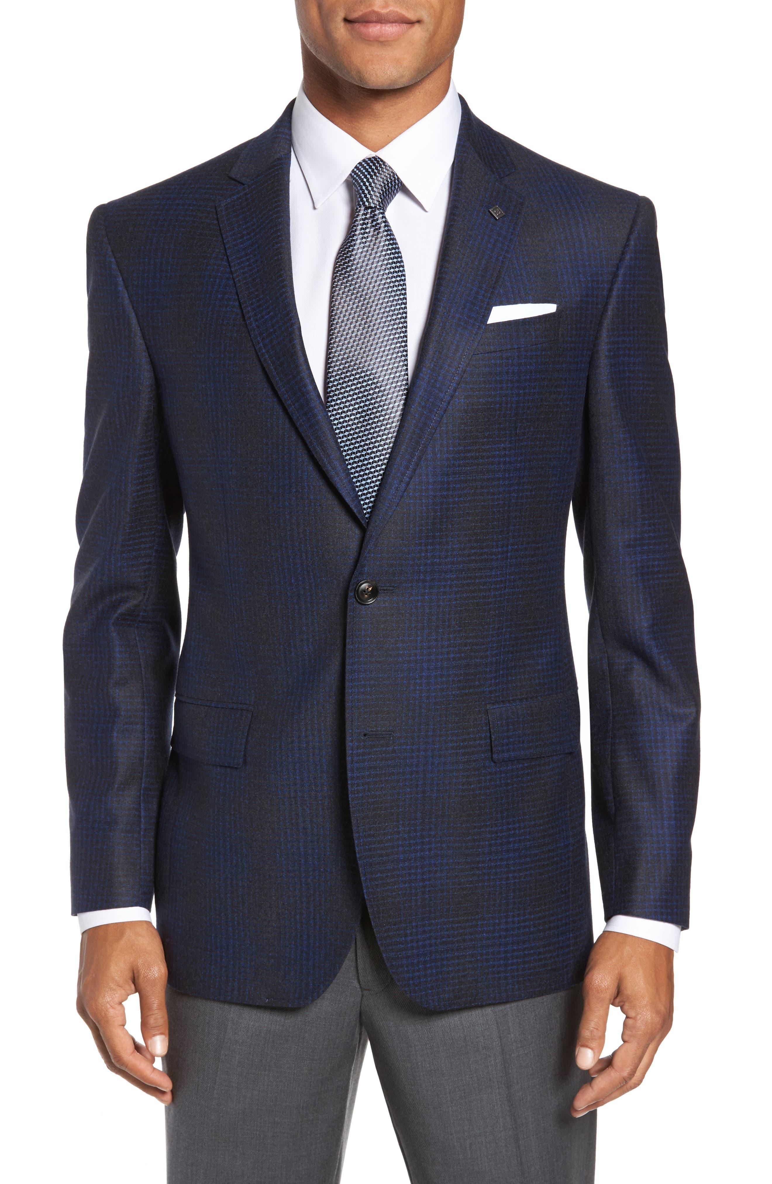 Trim Fit Plaid Wool Sport Coat,                         Main,                         color, 010