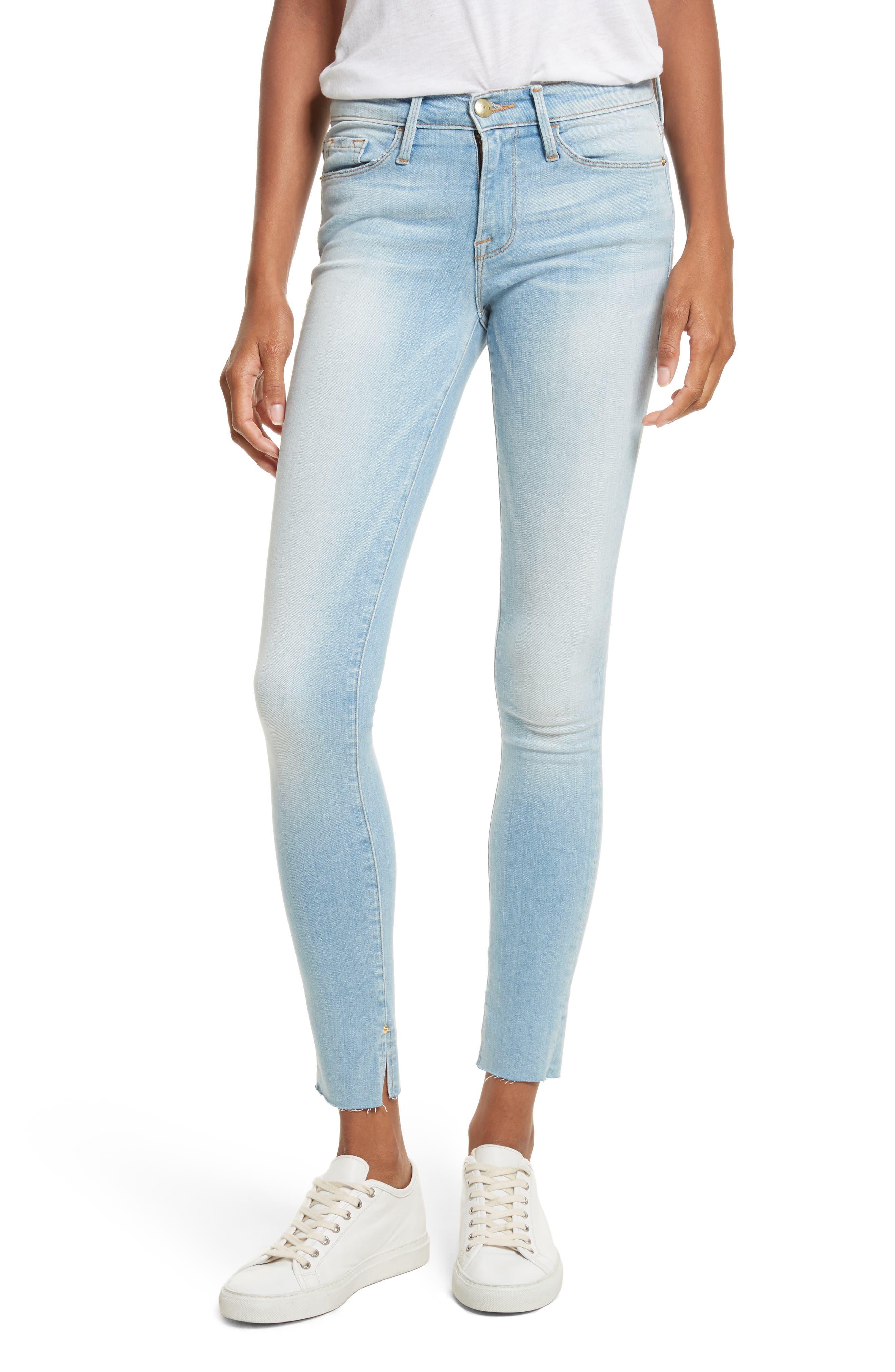 Le Skinny de Jeanne Raw Edge Skinny Jeans,                             Main thumbnail 1, color,                             450