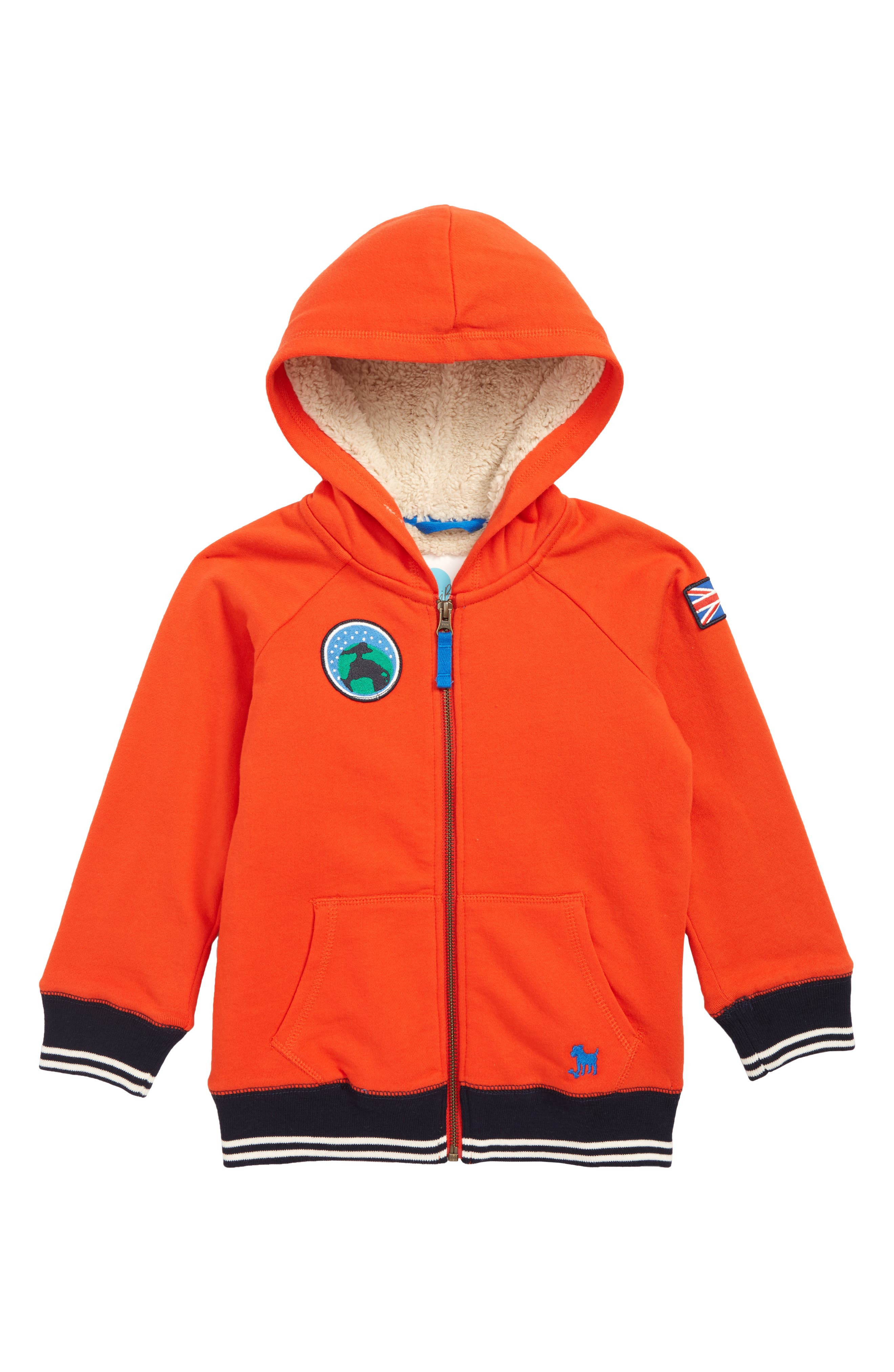 Boys Mini Boden Shaggy Colorblock Zip Hoodie Size 67Y  Red
