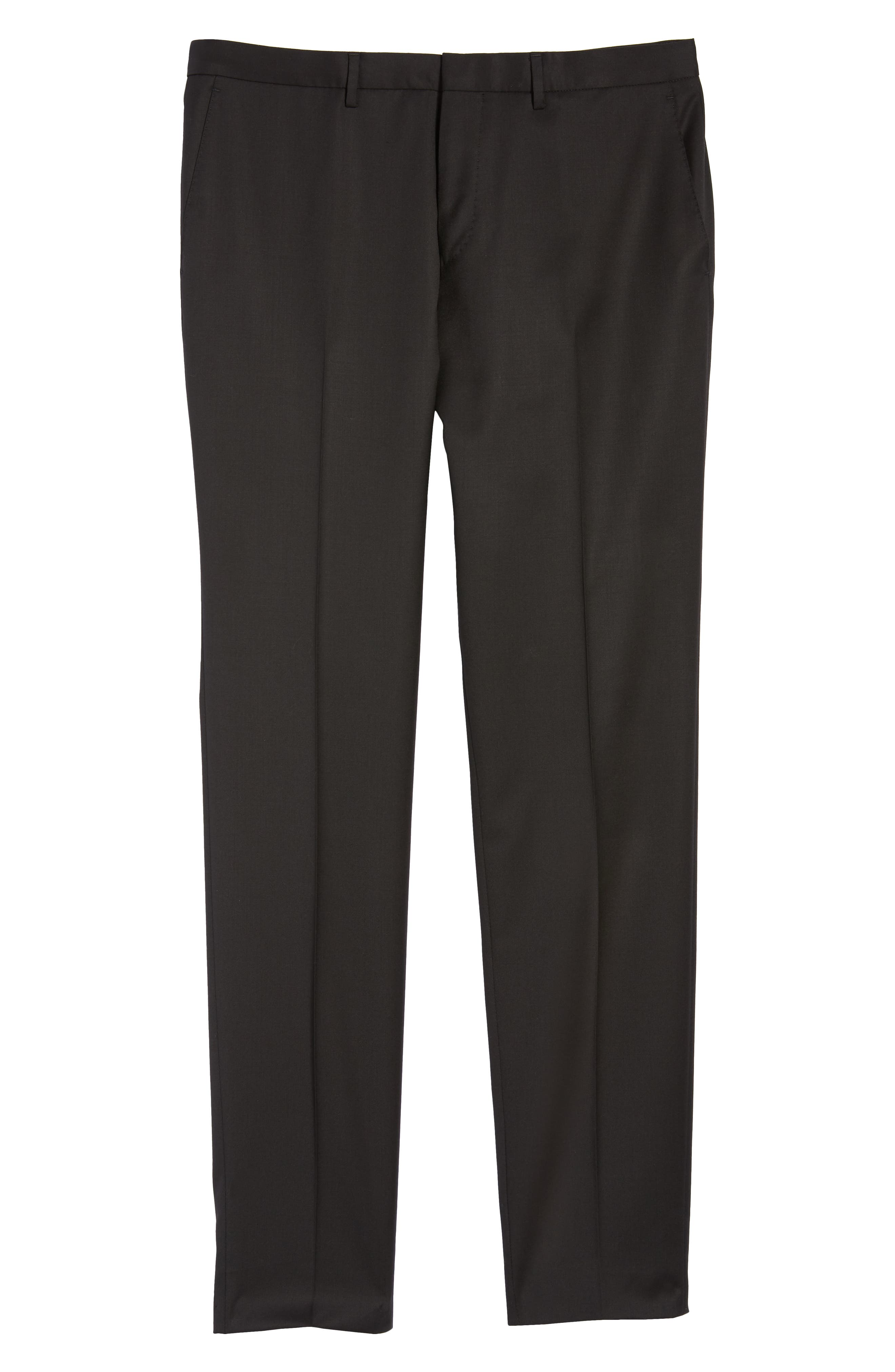 Wave CYL Flat Front Solid Wool Trousers,                             Alternate thumbnail 6, color,                             BLACK