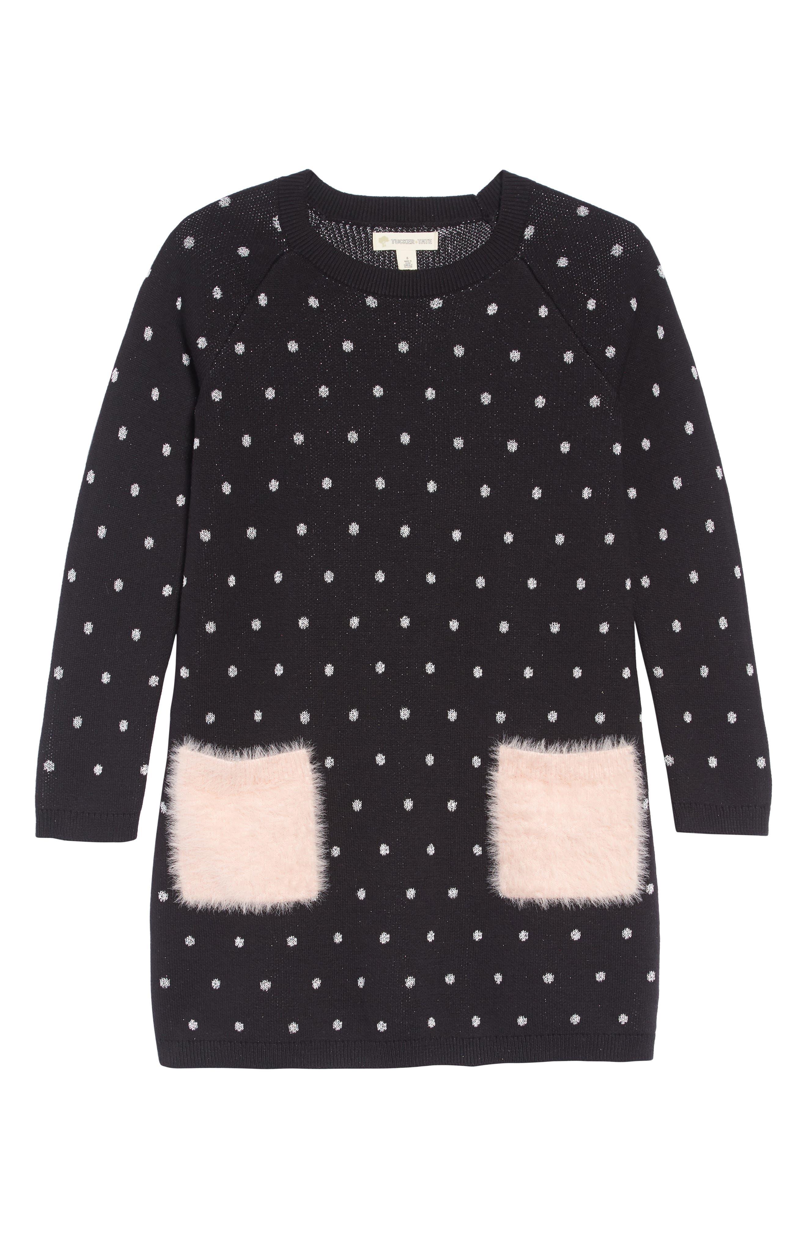 Fuzzy Pocket Sweater Dress,                         Main,                         color, BLACK- SILVER DOT