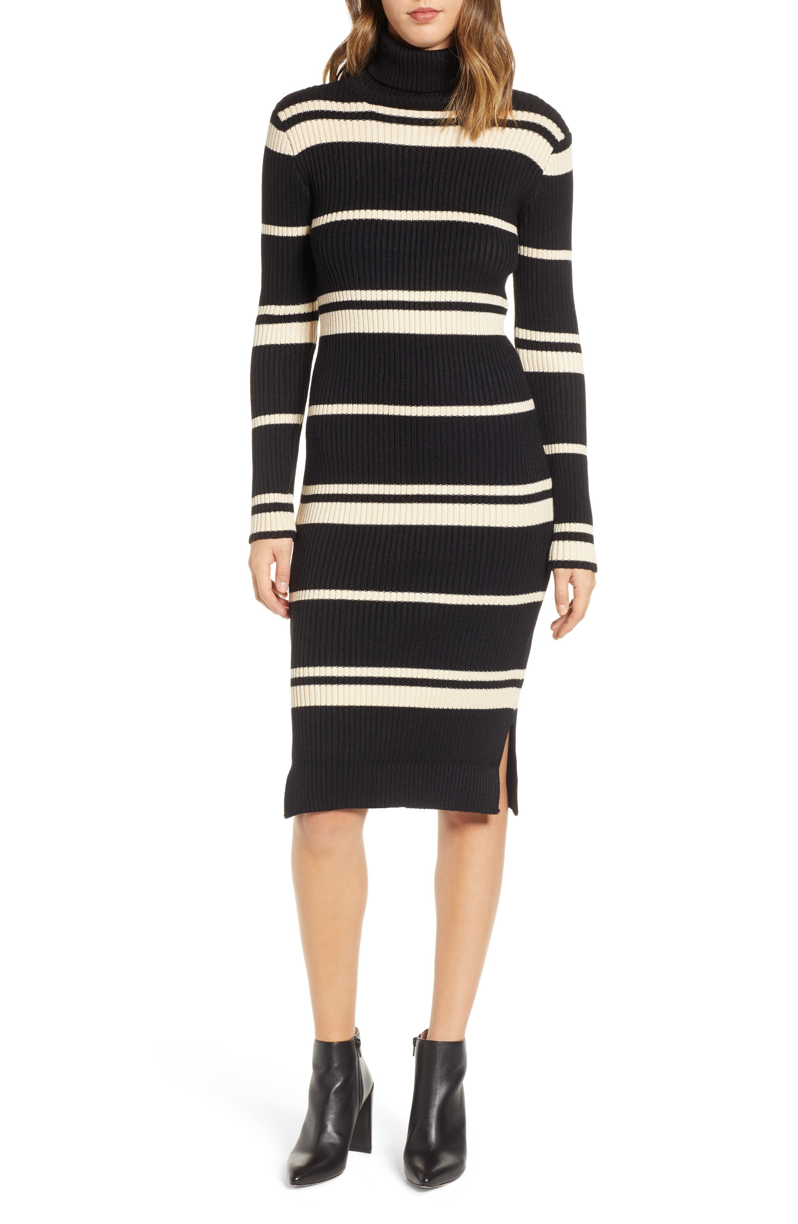 JOA Stripe Turtleneck Dress in Black/ Cream