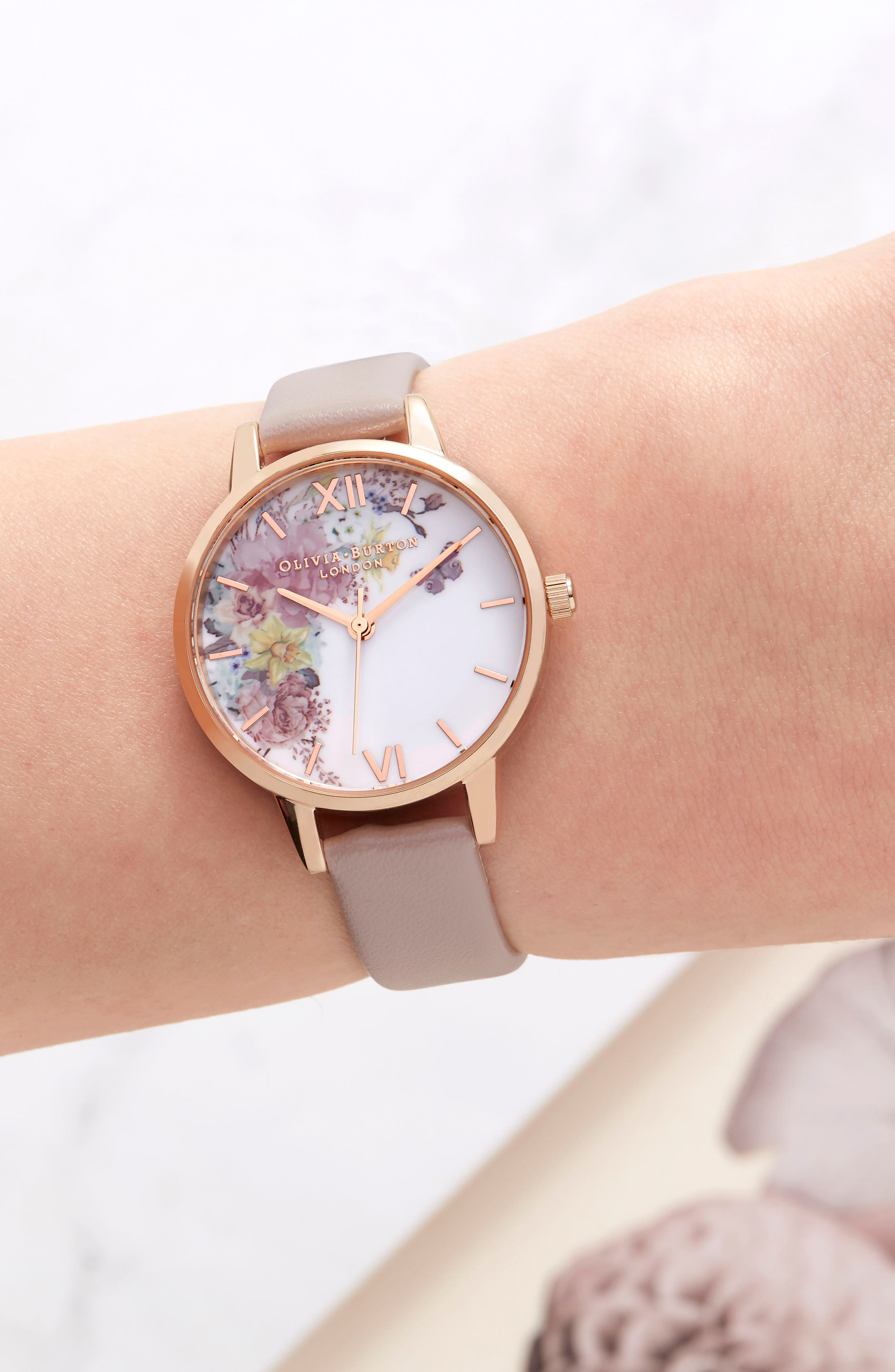 Enchanted Garden Faux Leather Strap Watch, 30mm,                             Alternate thumbnail 6, color,                             SAND/ FLORAL/ ROSE GOLD