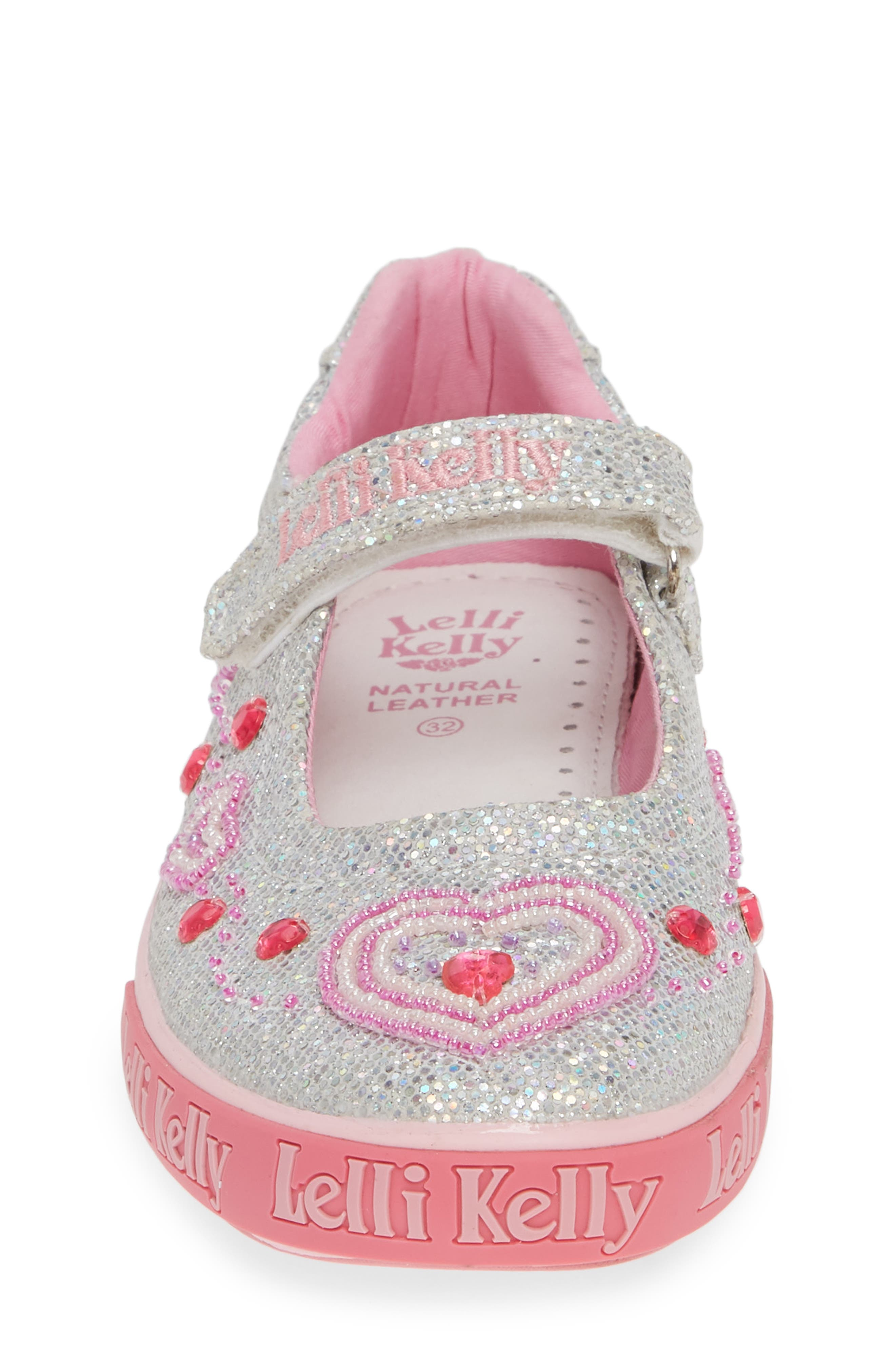 Beaded Heart Glitter Mary Jane Sneaker,                             Alternate thumbnail 4, color,                             SILVER