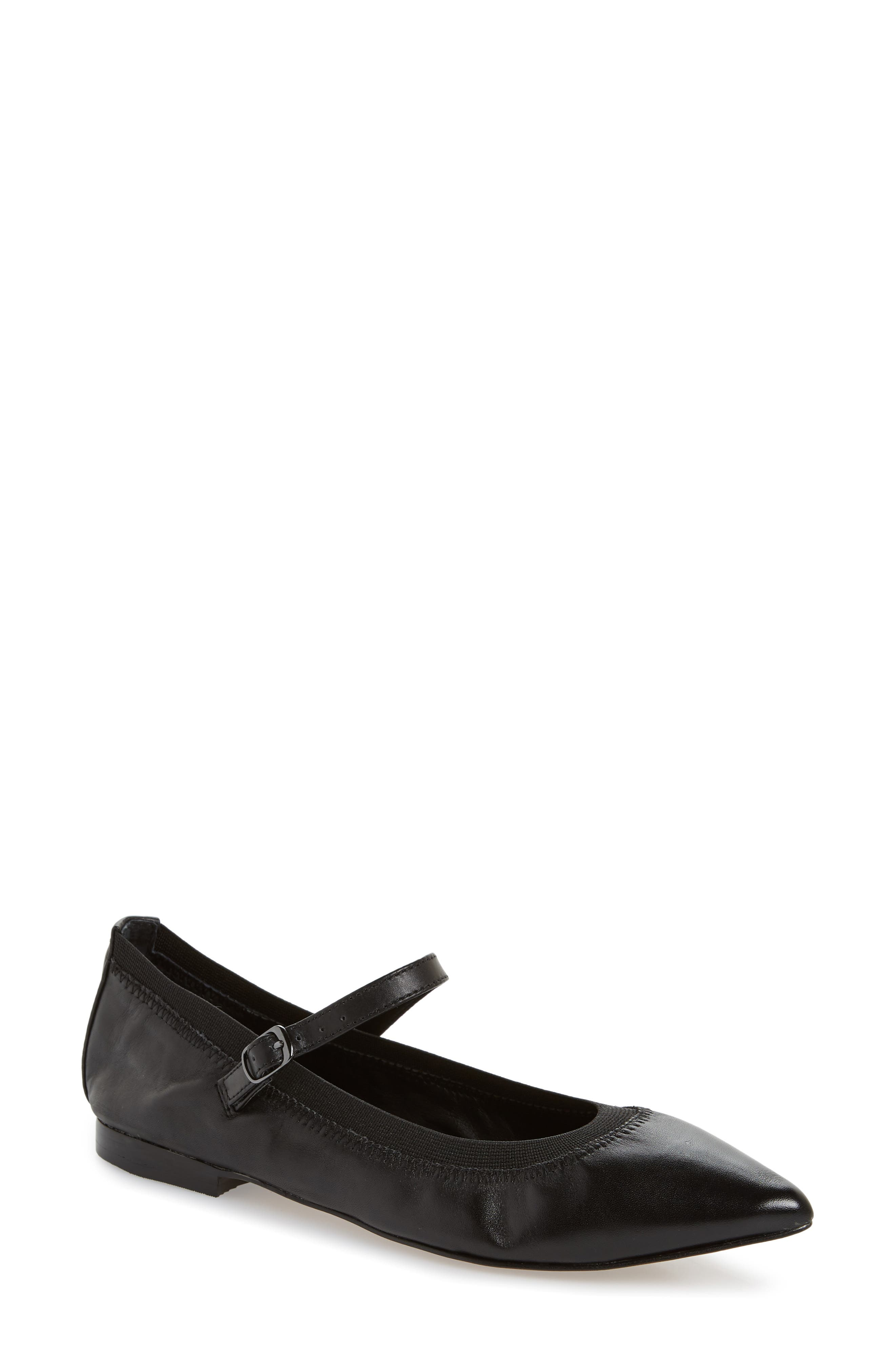 Isola Palleteri Pointy Toe Flat,                         Main,                         color, BLACK LEATHER