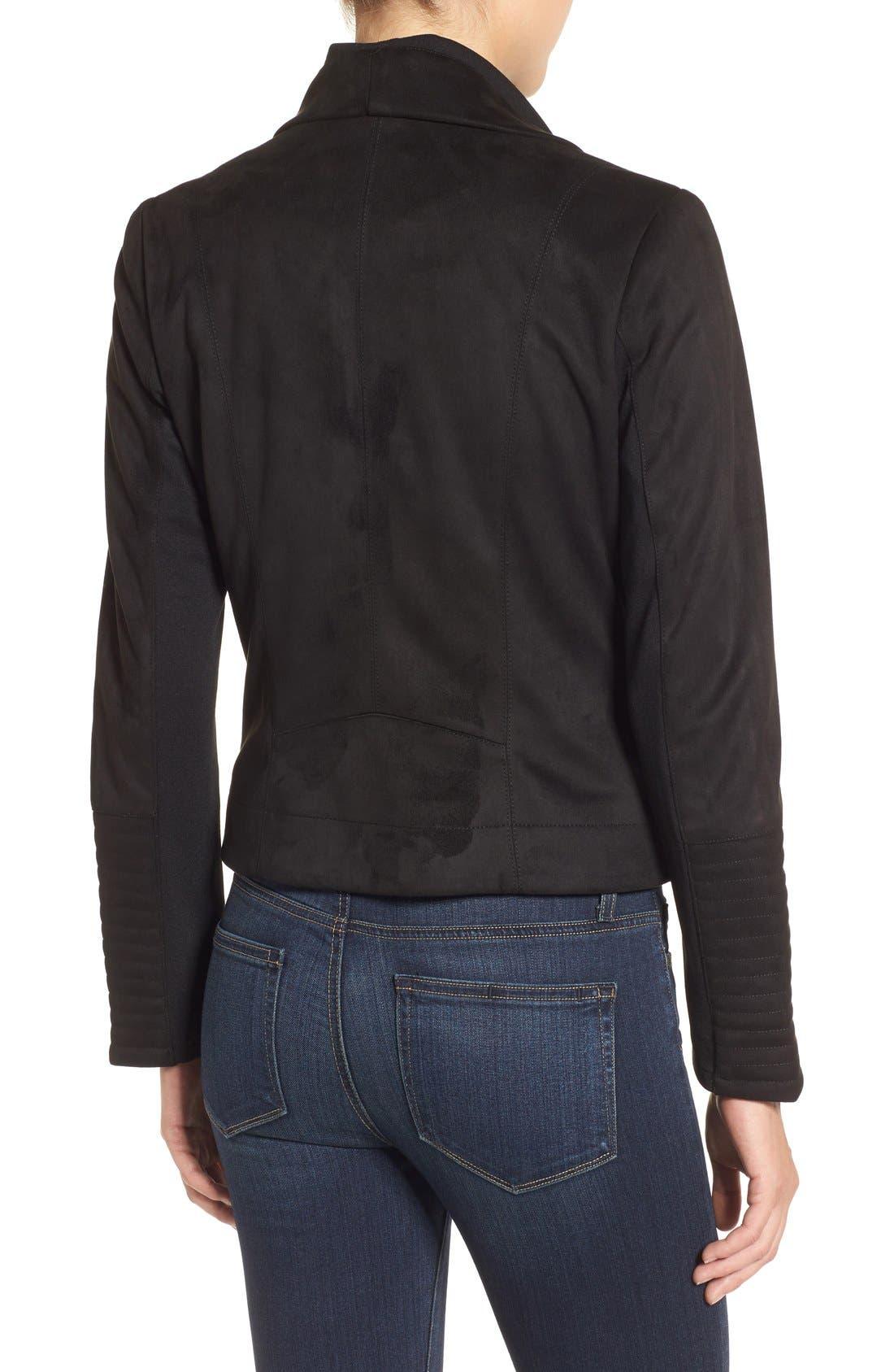 Faux Suede Moto Jacket,                             Alternate thumbnail 2, color,                             001