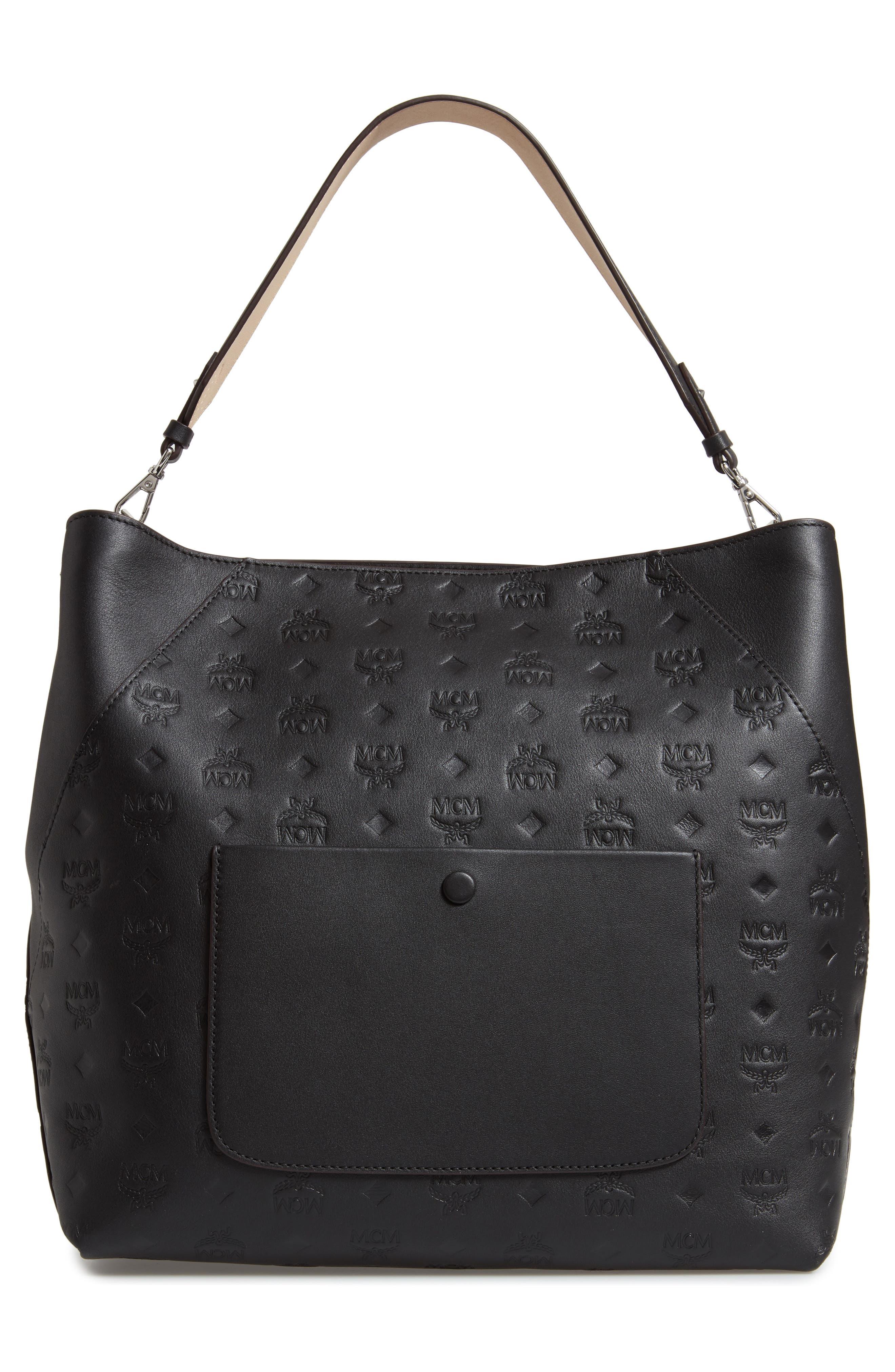 Large Klara Monogram Leather Hobo,                             Alternate thumbnail 3, color,                             BLACK