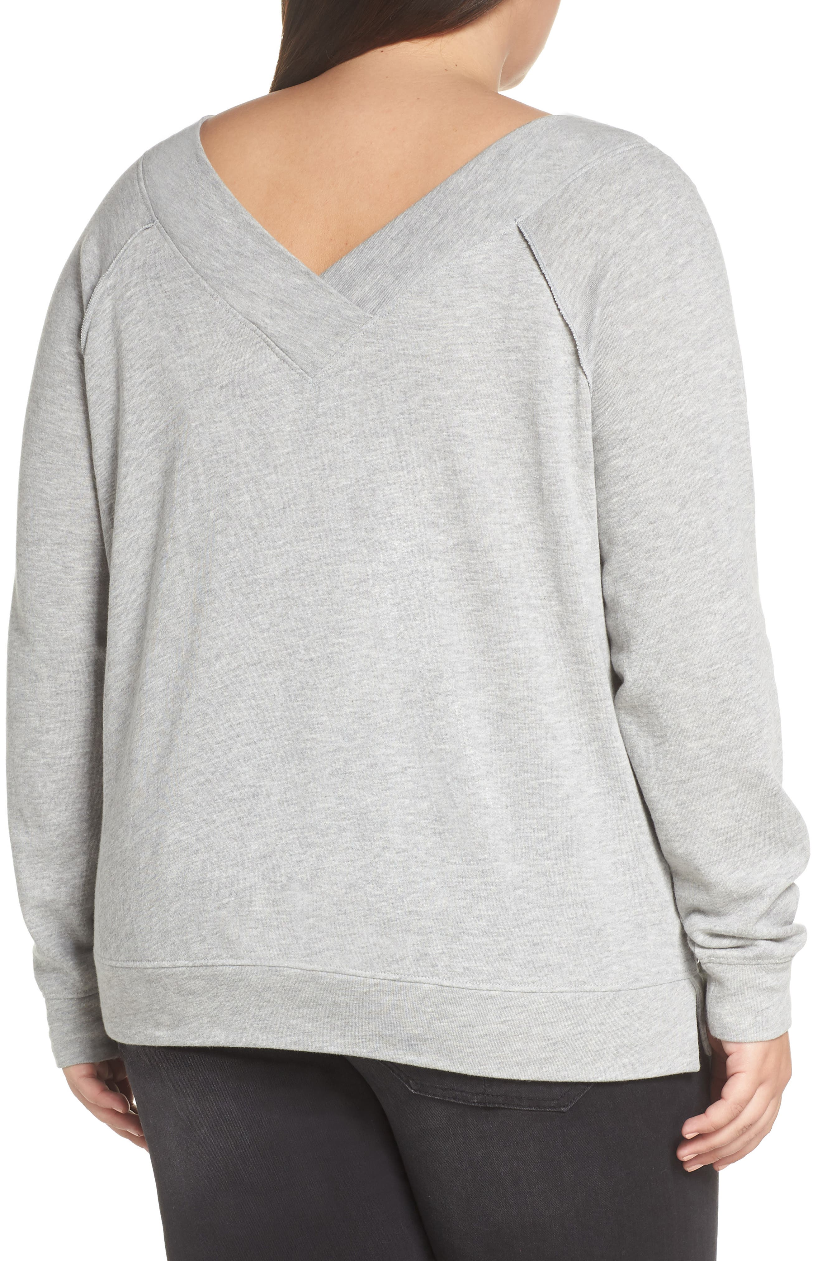 Double V-neck Sweatshirt,                             Alternate thumbnail 8, color,                             GREY PEARL HEATHER