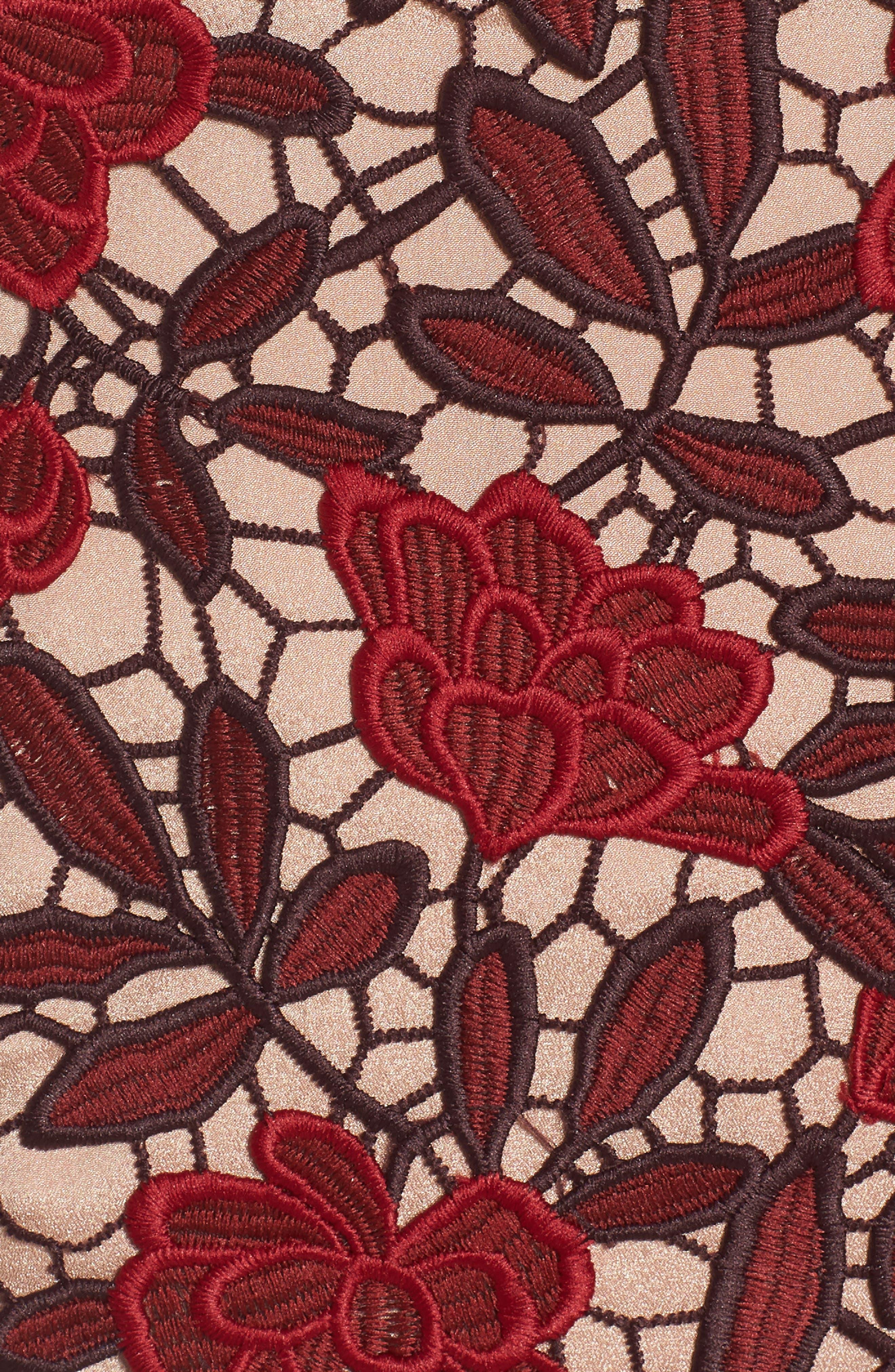 Aurora Embroidered Sheath Dress,                             Alternate thumbnail 7, color,                             GARNET/ NUDE