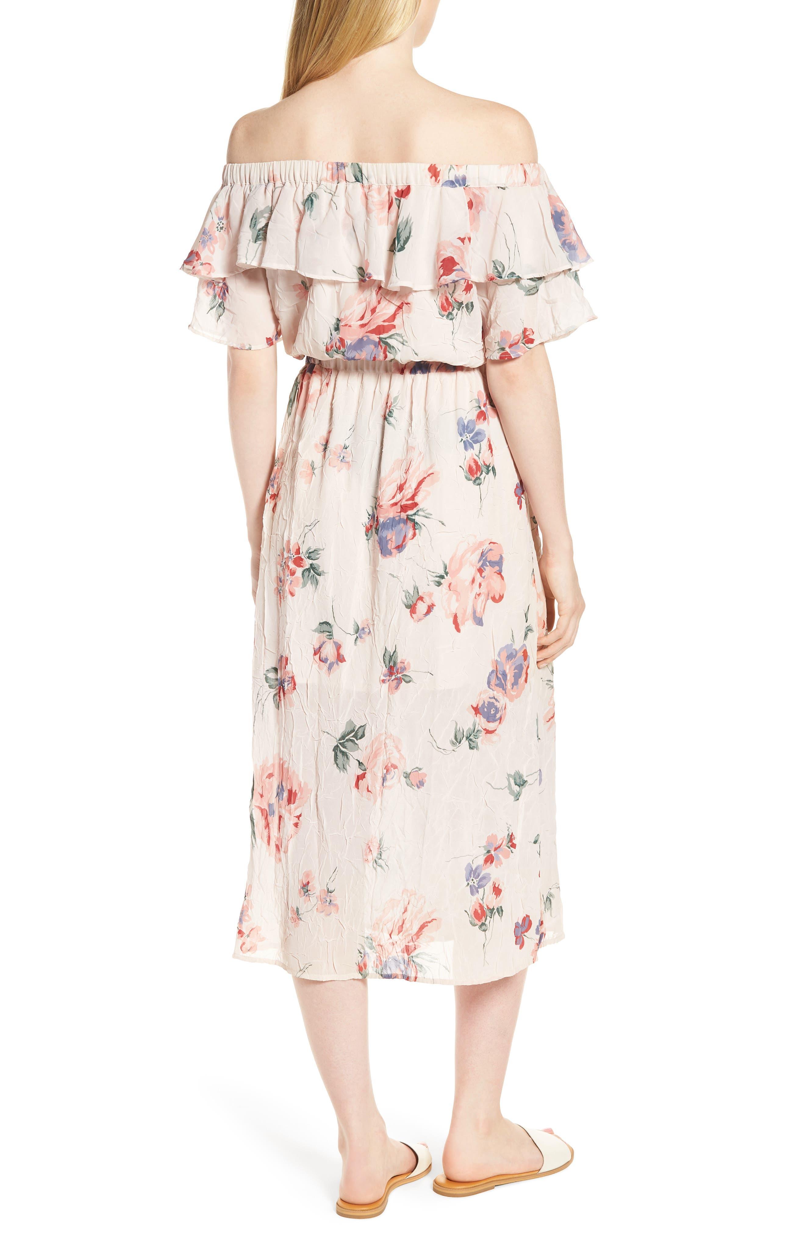 Off the Shoulder Floral Midi Dress,                             Alternate thumbnail 2, color,                             950