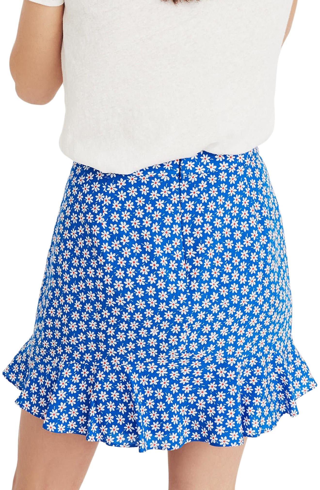 Daisy Print Ruffle Miniskirt,                             Alternate thumbnail 2, color,                             BRILLIANT ROYAL