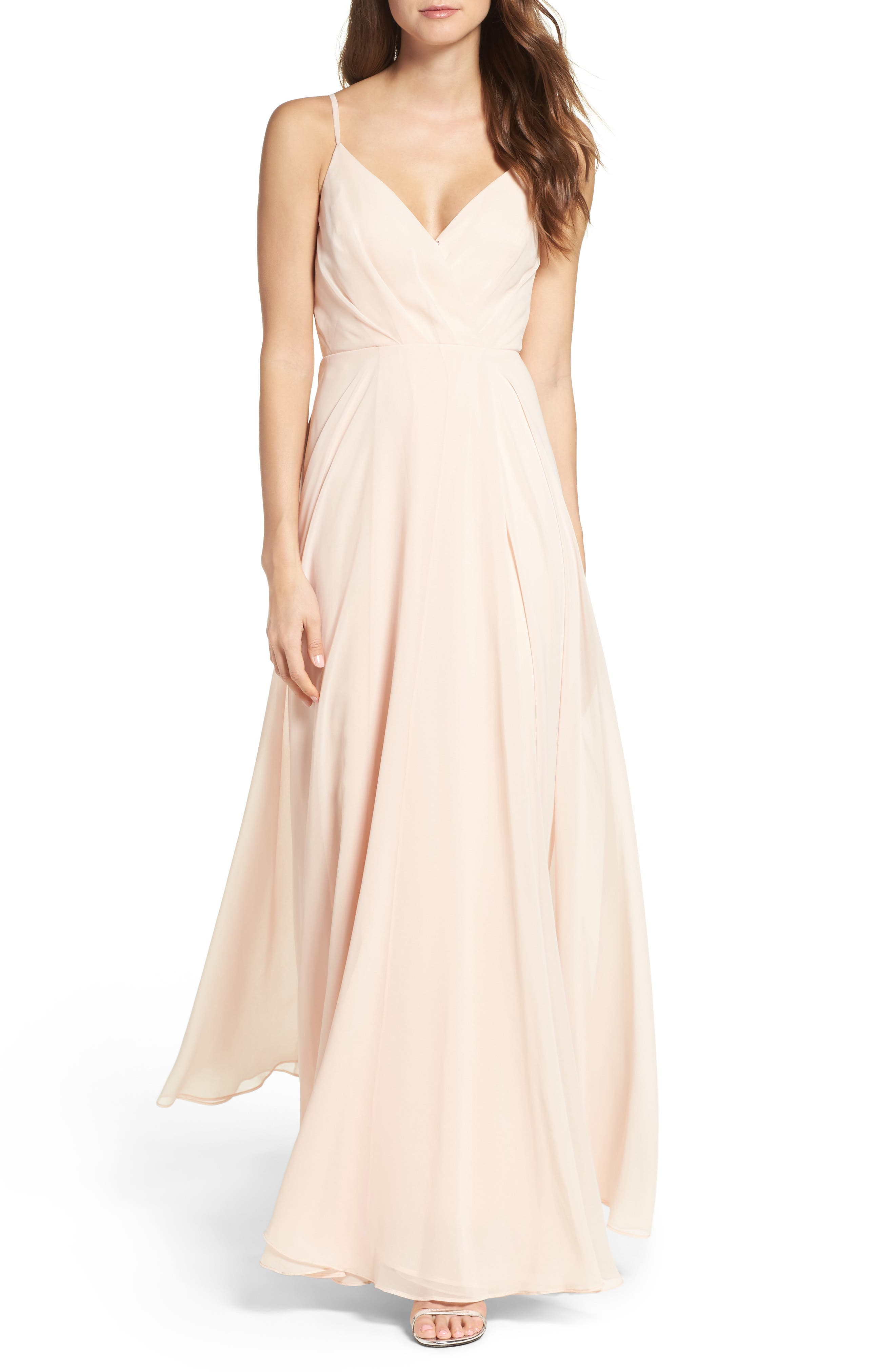Surplice Chiffon Gown,                             Main thumbnail 1, color,                             BLUSH