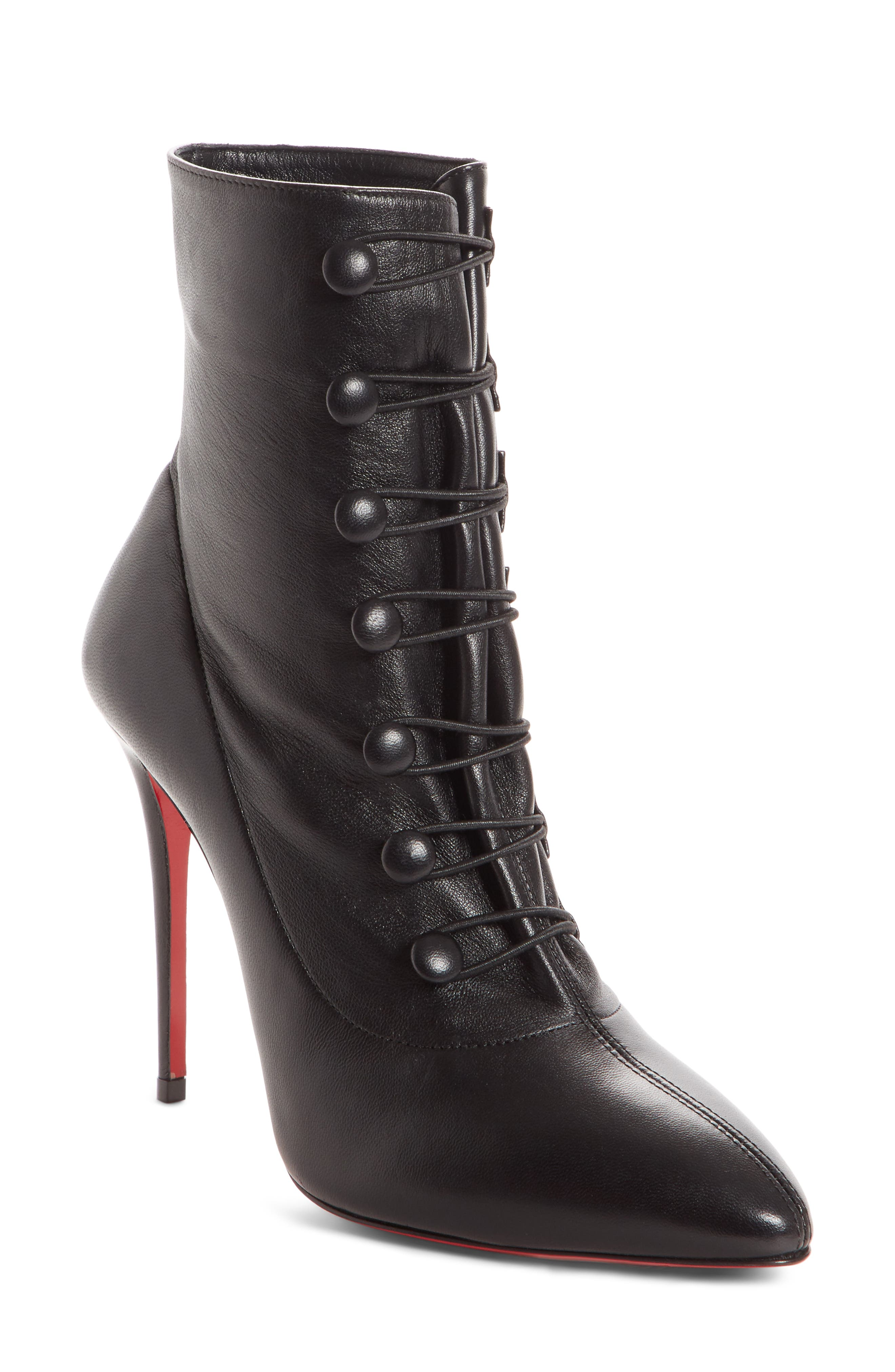 CHRISTIAN LOUBOUTIN French Tutu Pointy Toe Bootie, Main, color, BLACK