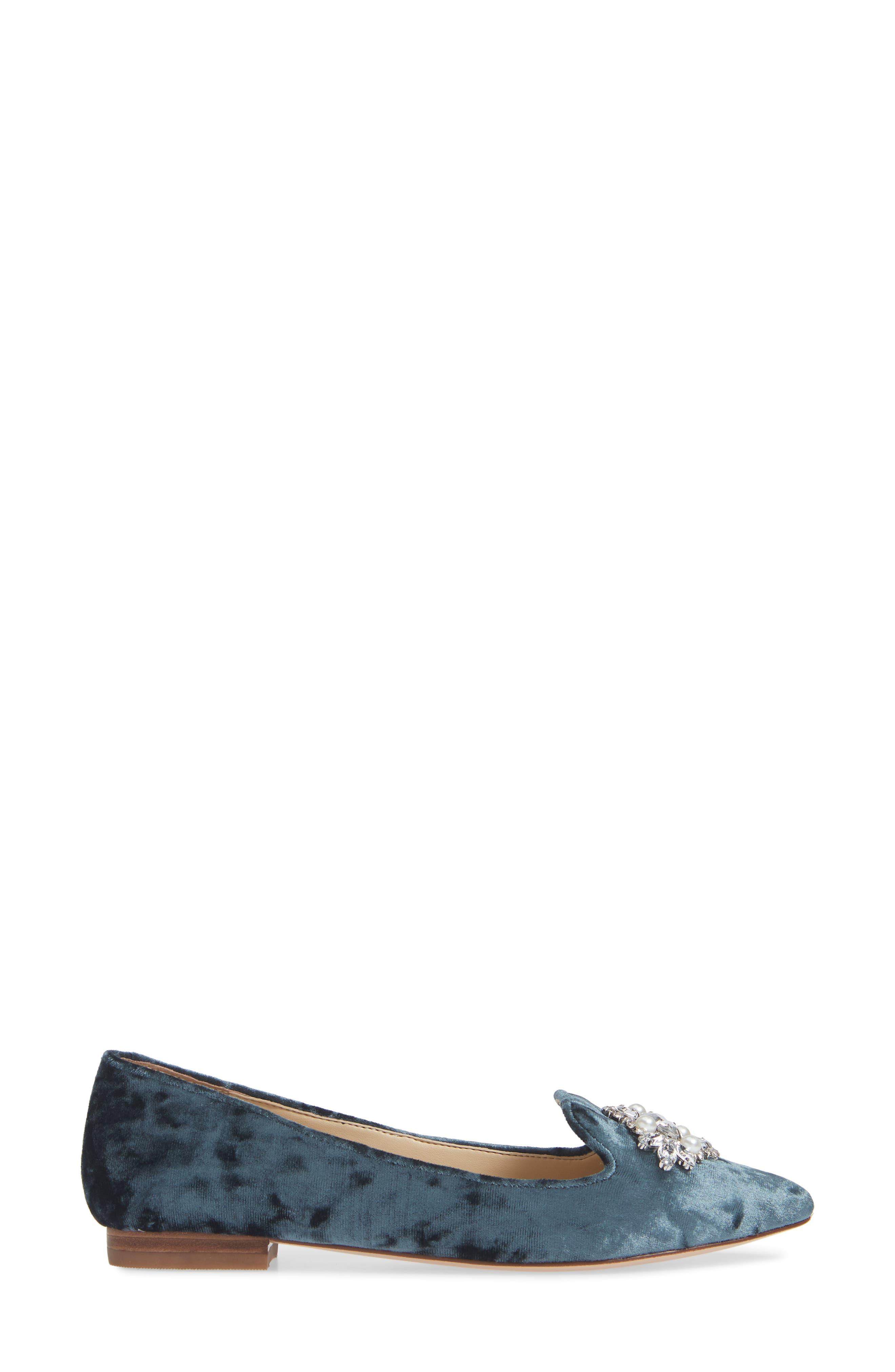 Libry Crystal Embellished Flat,                             Alternate thumbnail 3, color,                             CLOUD BLUE VELVET