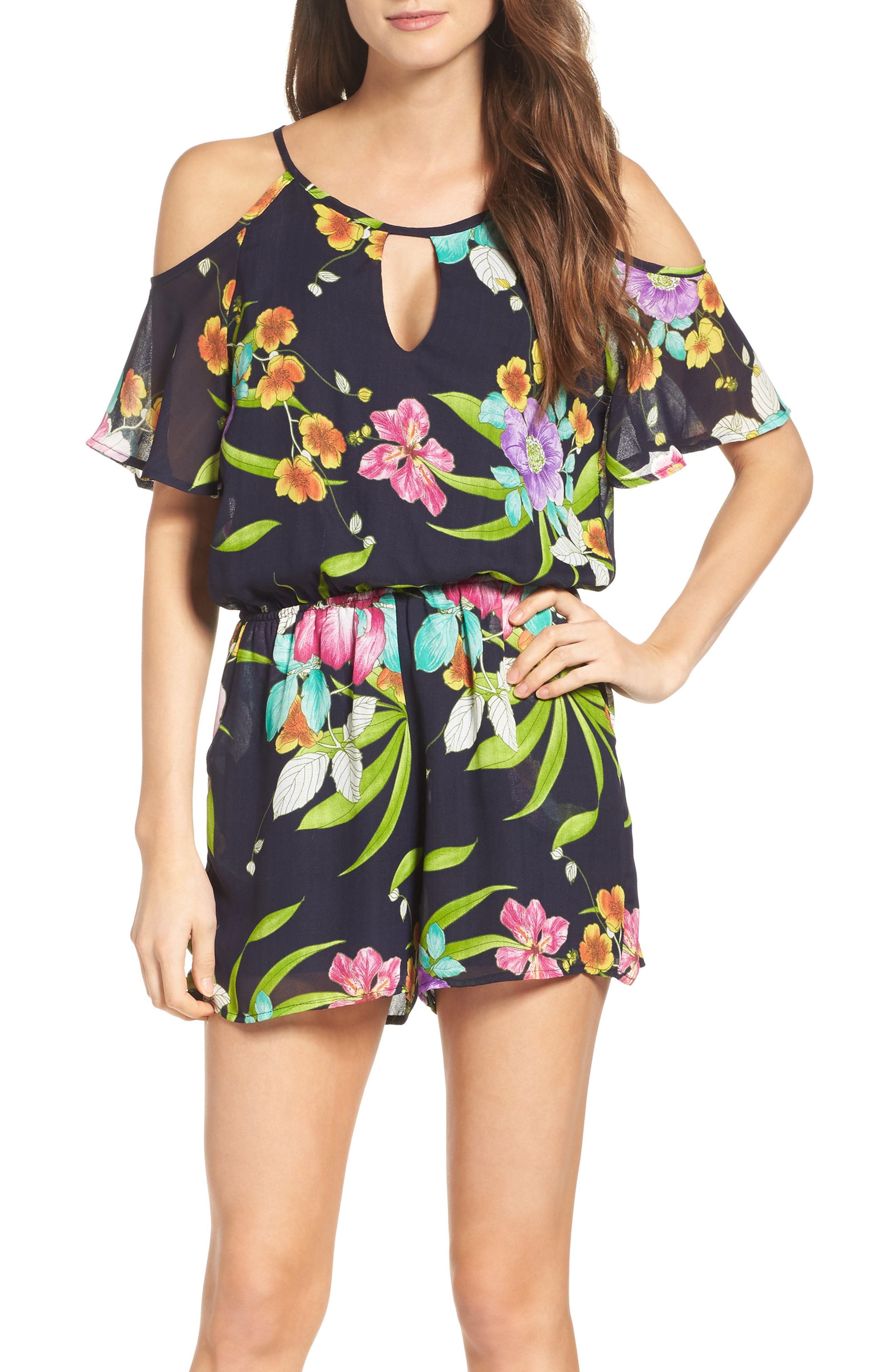 Cold Shoulder Romper,                             Main thumbnail 1, color,                             TAHITI