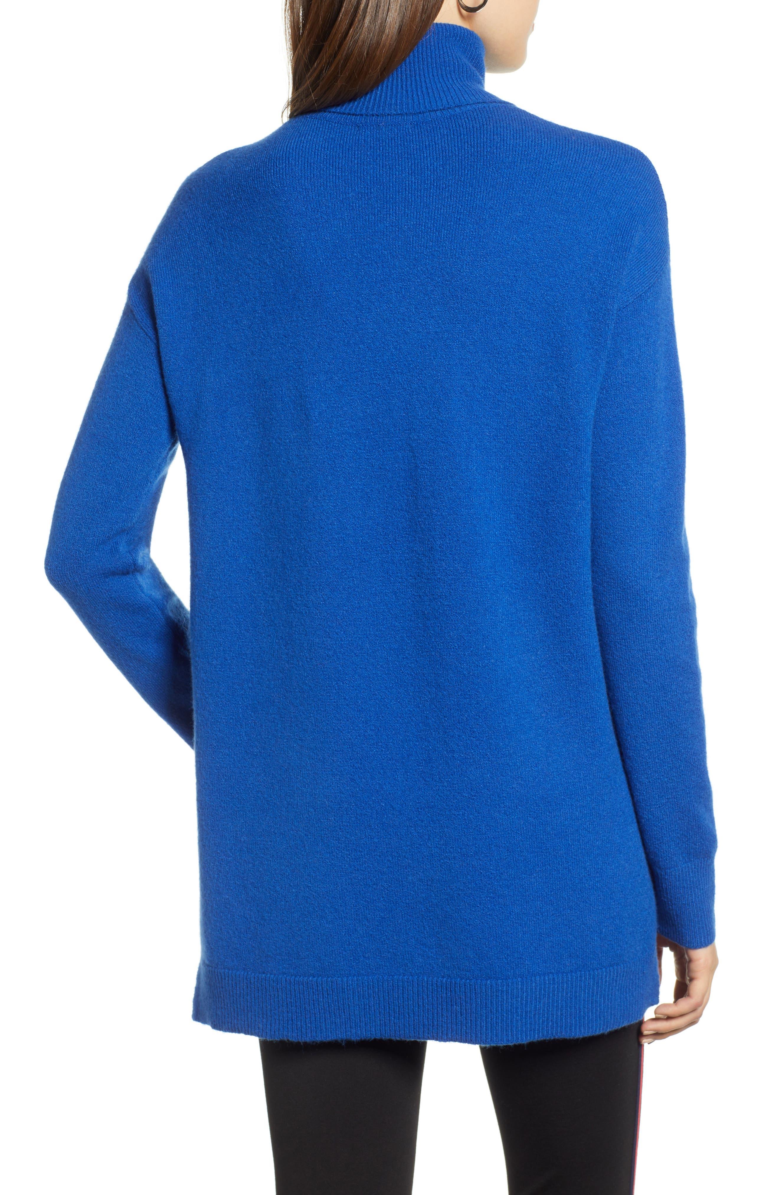 Turtleneck Wool Blend Tunic Sweater,                             Alternate thumbnail 2, color,                             BLUE MAZARINE