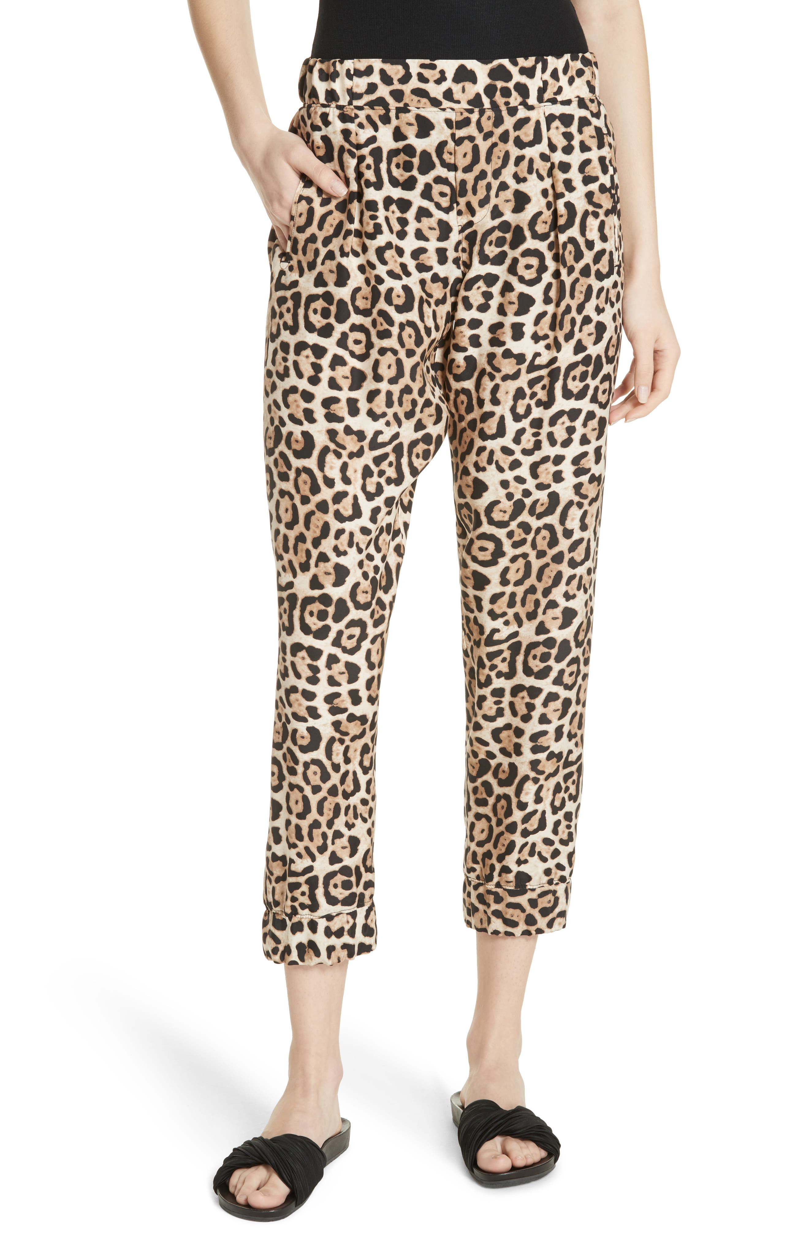 ATM ANTHONY THOMAS MELILLO,                             Leopard Print Silk Pants,                             Main thumbnail 1, color,                             LEOPARD PRINT