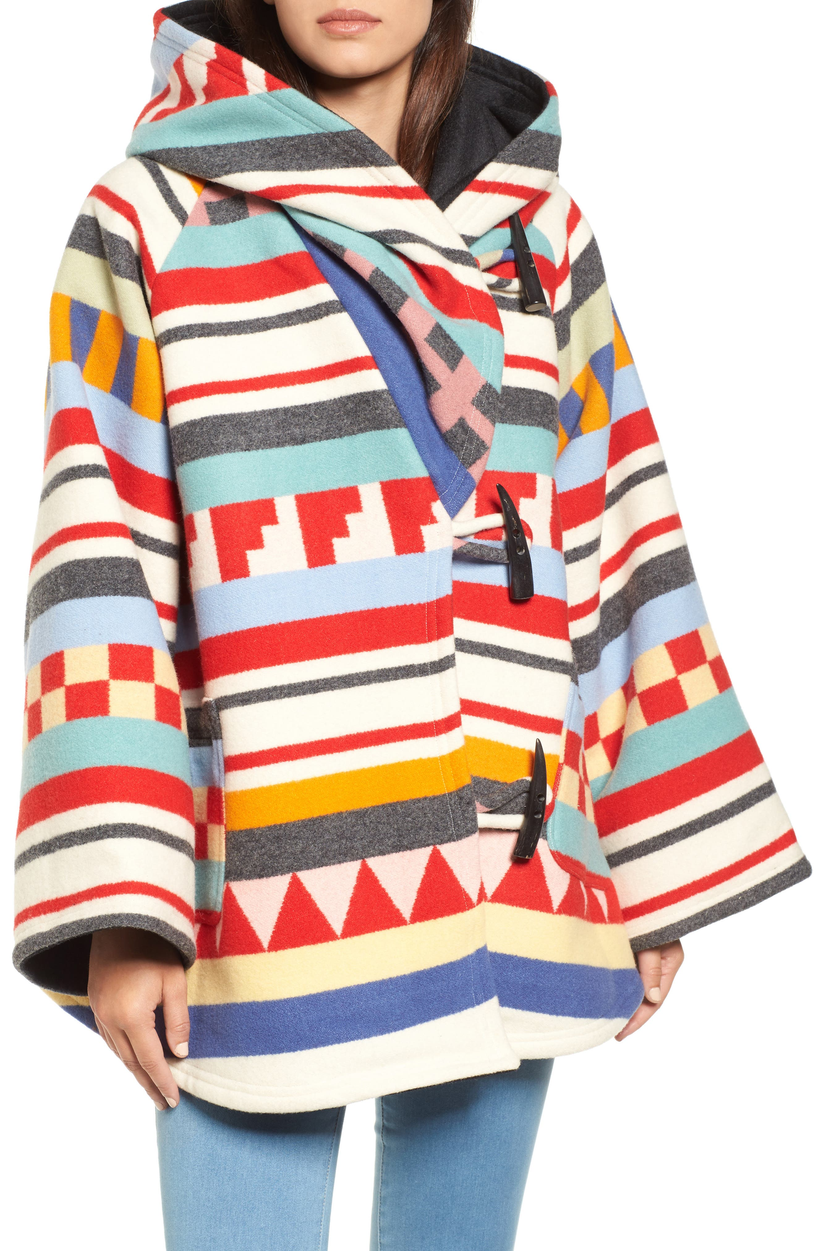 x Pendleton Wool Blend Hooded Cape,                             Alternate thumbnail 4, color,                             WHITE MULTI