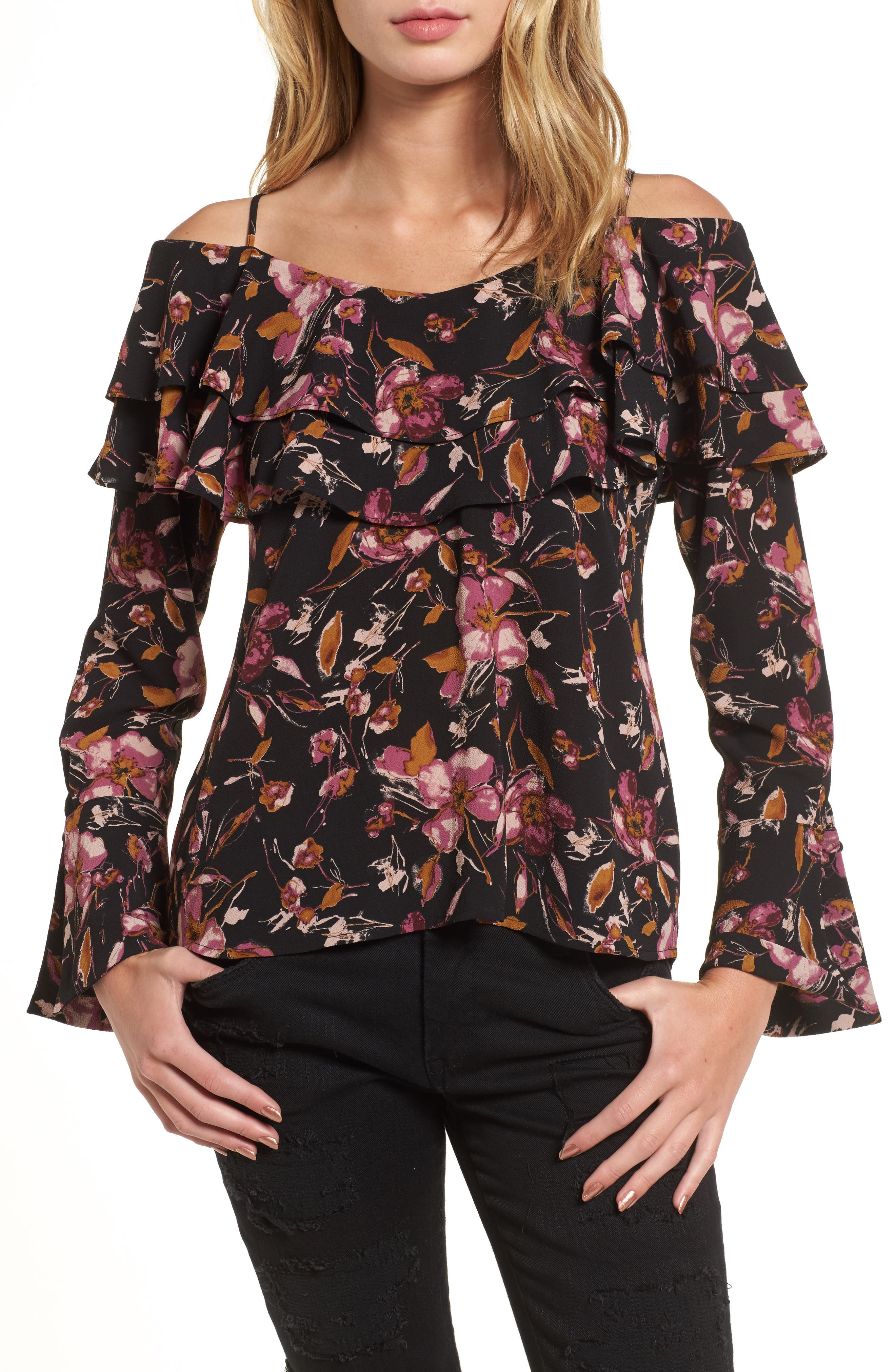 Ruffle Print Off the Shoulder Blouse,                         Main,                         color, 001
