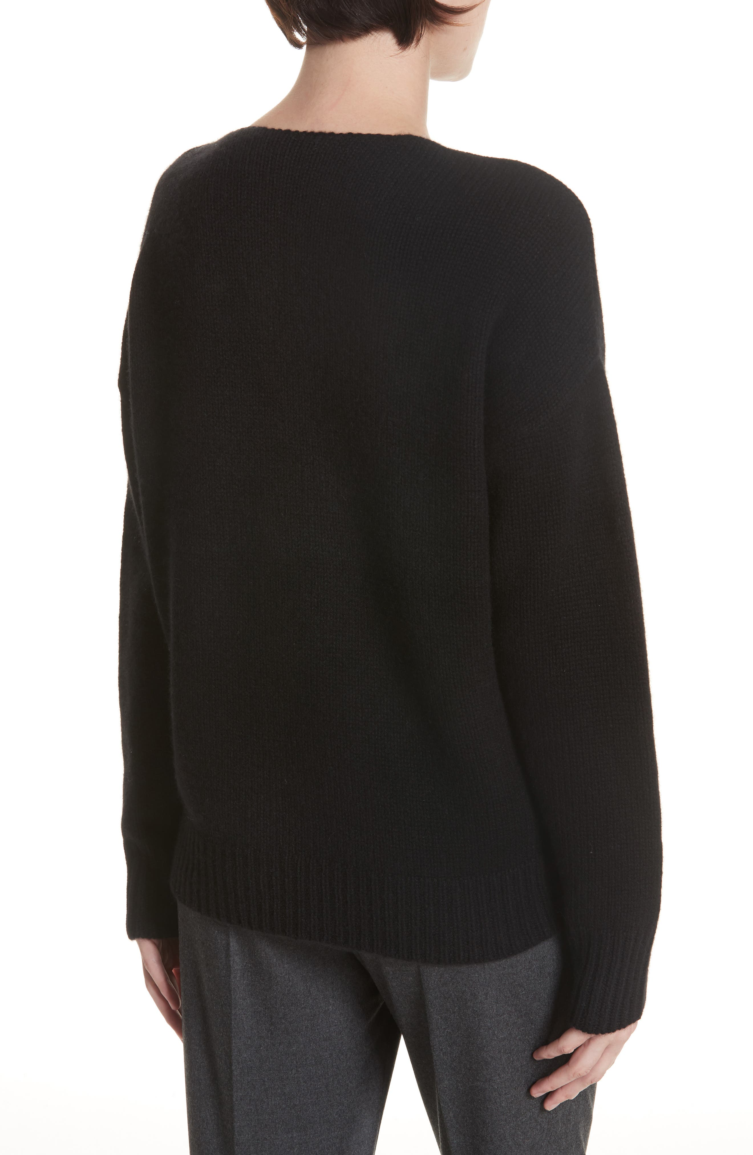 Relaxed Cashmere Sweater,                             Alternate thumbnail 2, color,                             BLACK