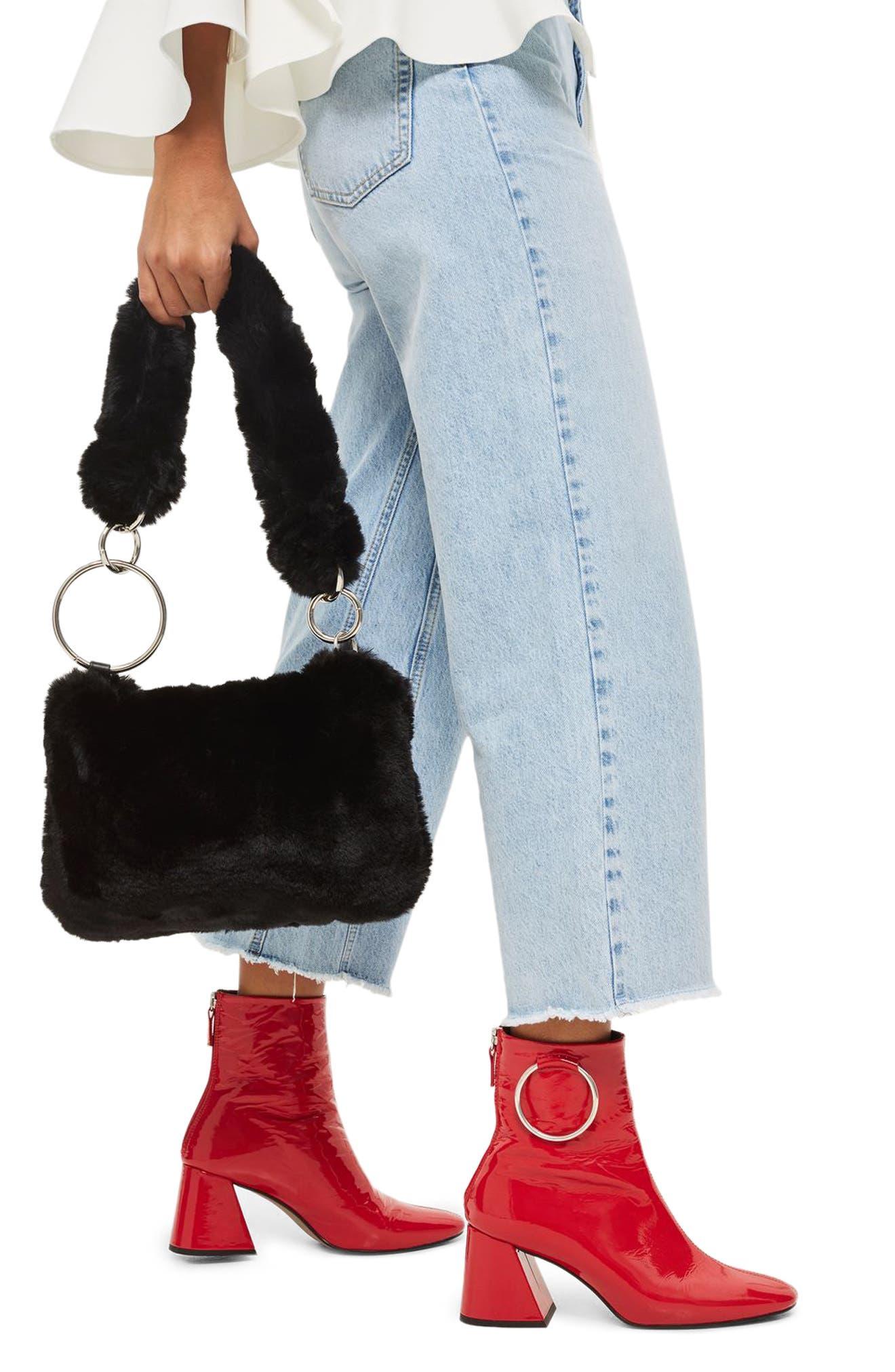 Teddy Faux Fur Shoulder Bag,                             Alternate thumbnail 2, color,                             001
