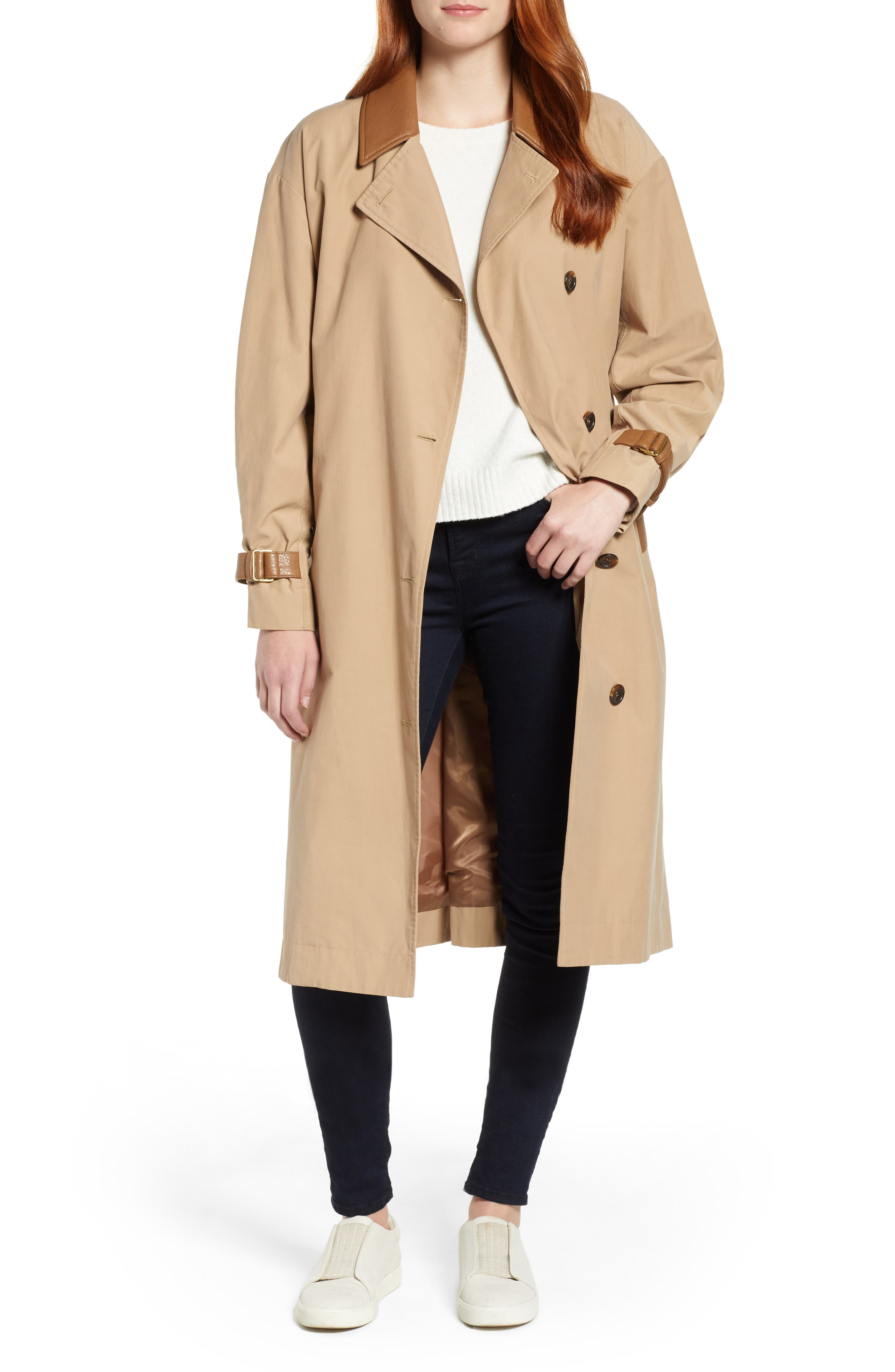 Grace Oversize Twill Trench Coat,                             Main thumbnail 1, color,                             SAND