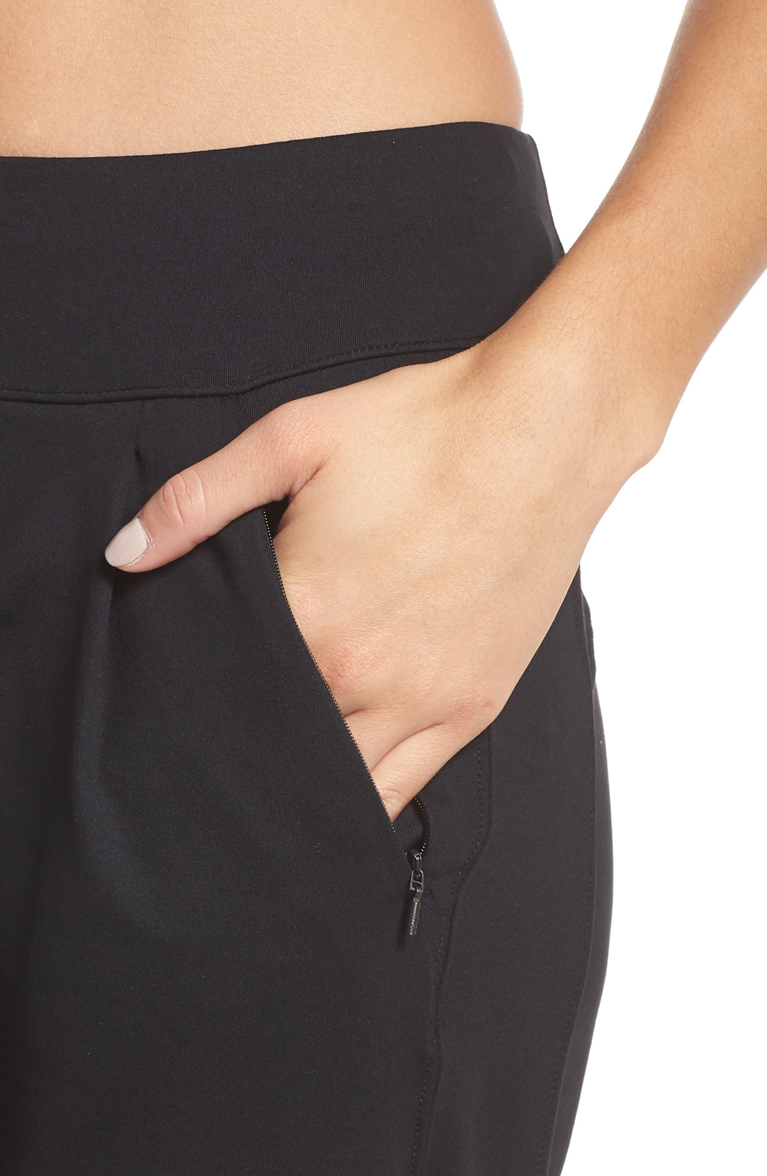 Taylor Slim Recycled Knit Jogger Pants,                             Alternate thumbnail 4, color,                             BLACK