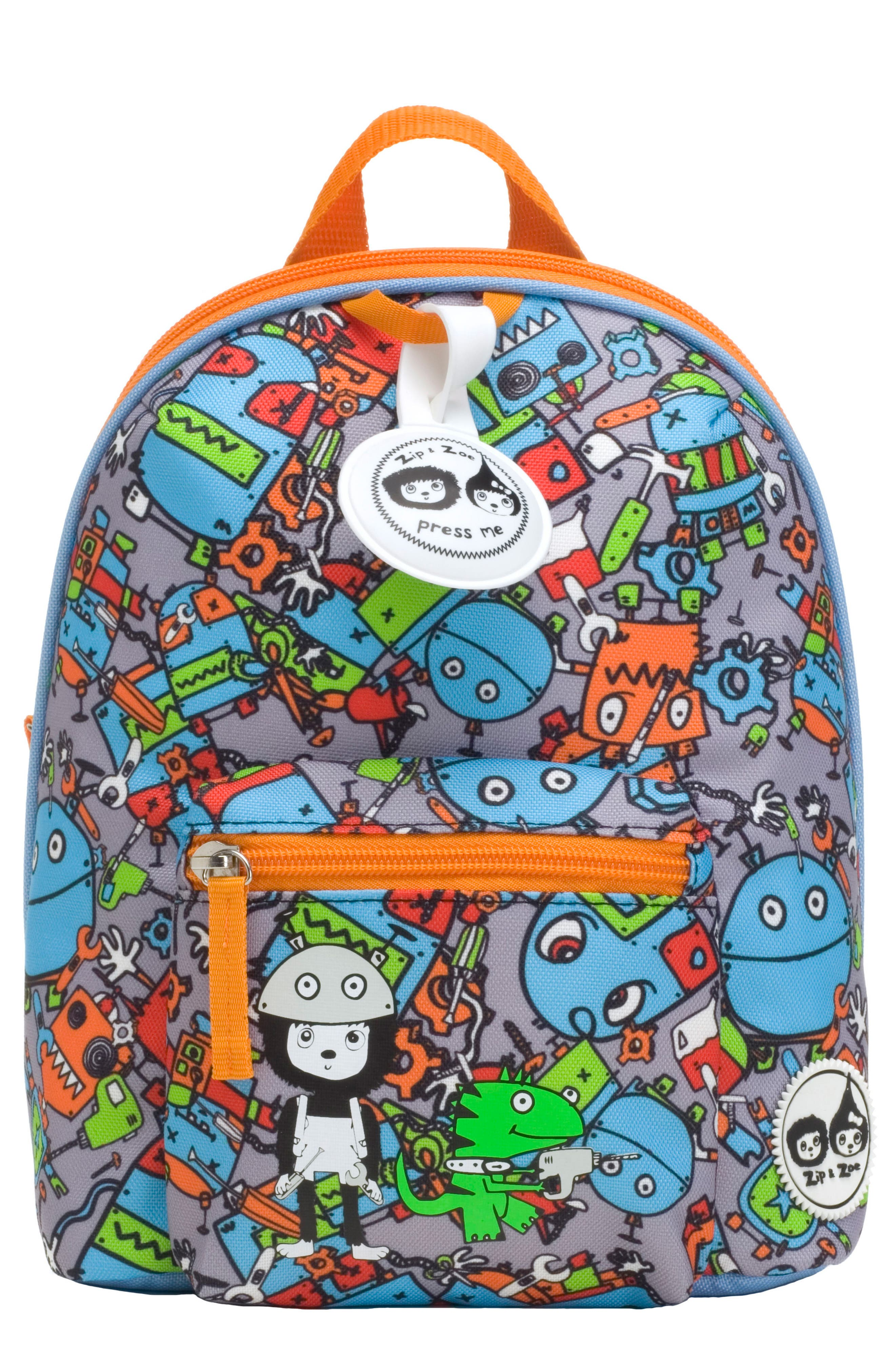 Zip & Zoe Robots Mini Backpack,                             Main thumbnail 1, color,                             ROBOTS