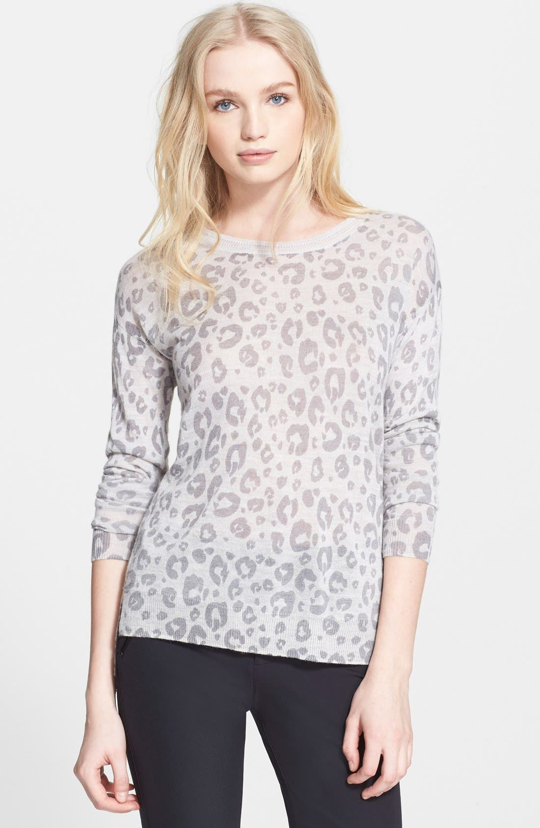 Leopard Print Knit Sweater,                             Main thumbnail 1, color,                             056