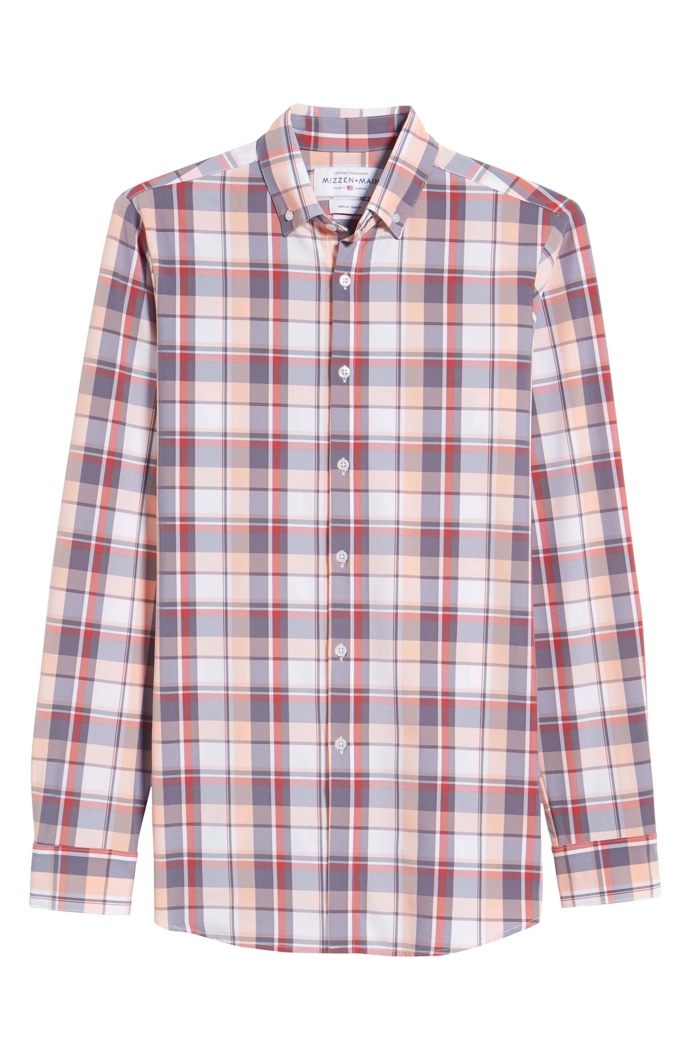 Brazos Slim Fit Madras Plaid Performance Sport Shirt,                             Alternate thumbnail 6, color,                             PEACH